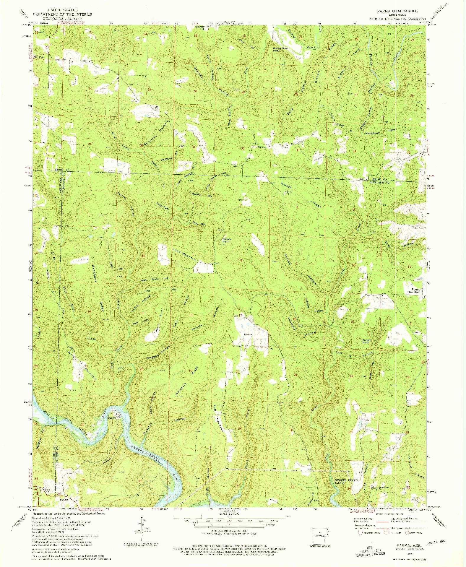 USGS 1:24000-SCALE QUADRANGLE FOR PARMA, AR 1973