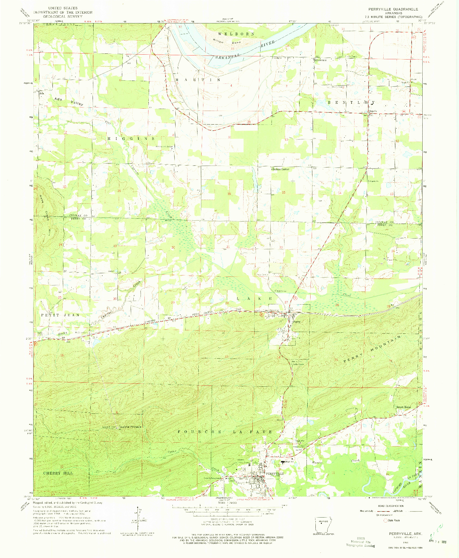 USGS 1:24000-SCALE QUADRANGLE FOR PERRYVILLE, AR 1961