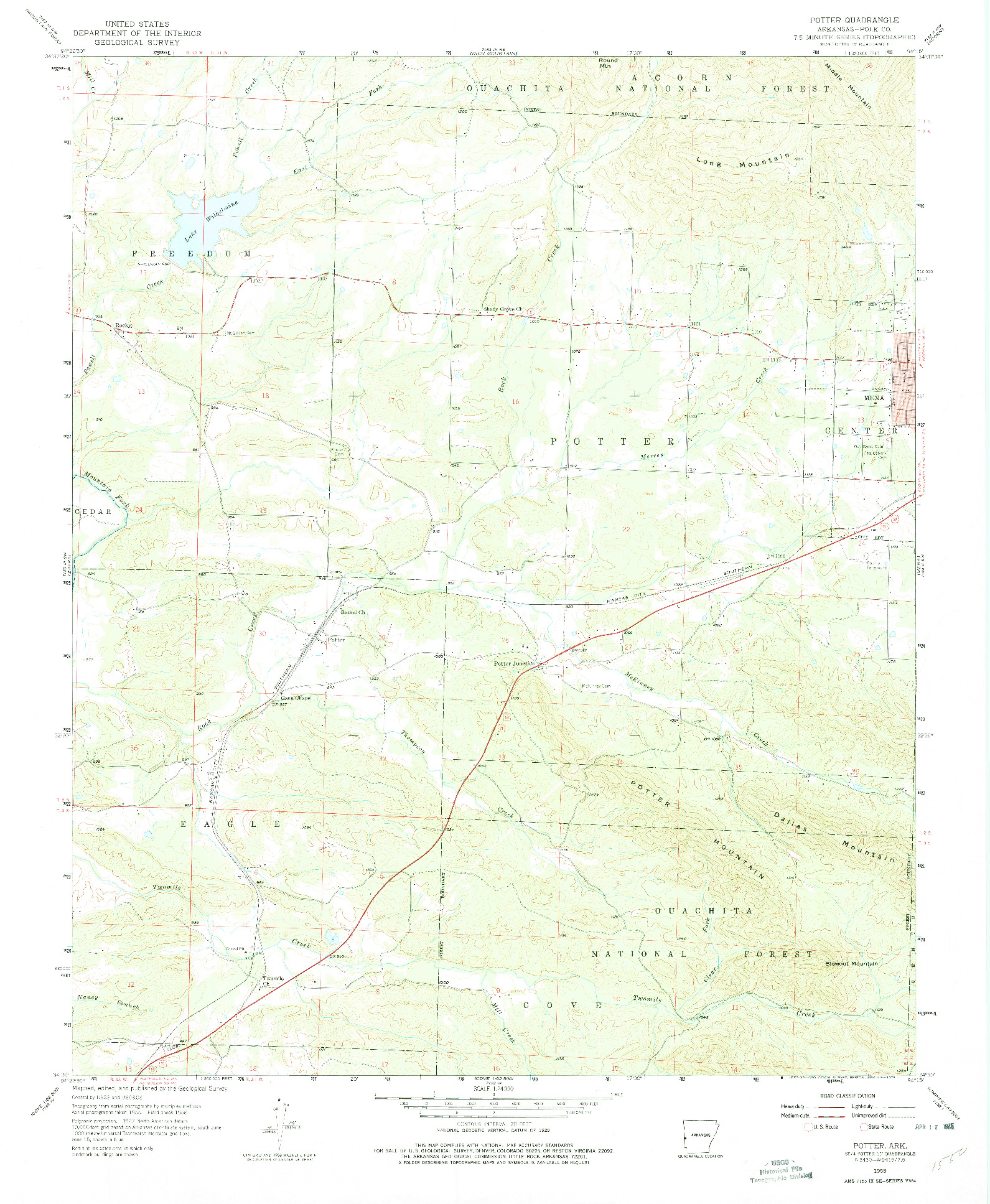USGS 1:24000-SCALE QUADRANGLE FOR POTTER, AR 1958