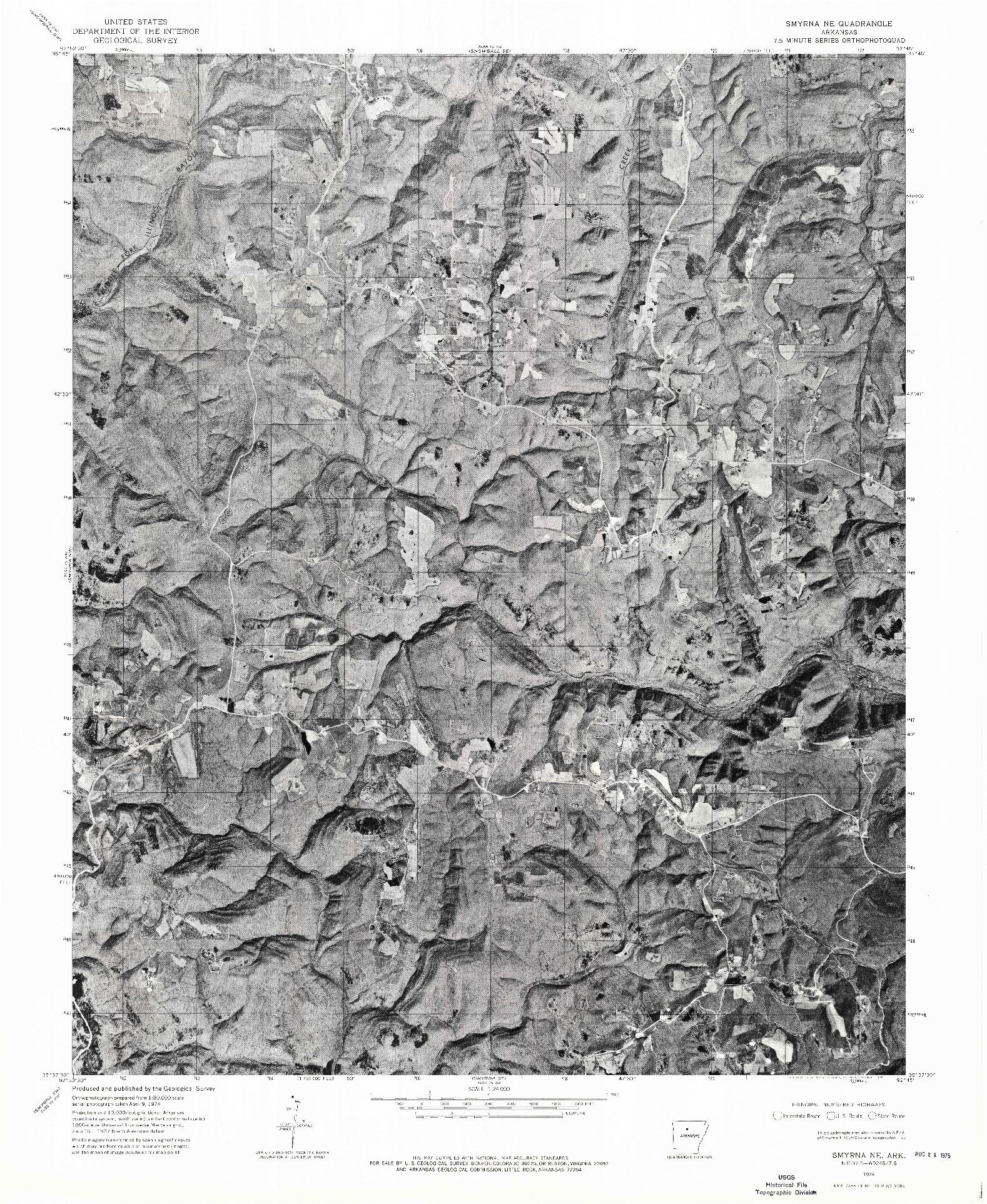 USGS 1:24000-SCALE QUADRANGLE FOR SMYRNA NE, AR 1974