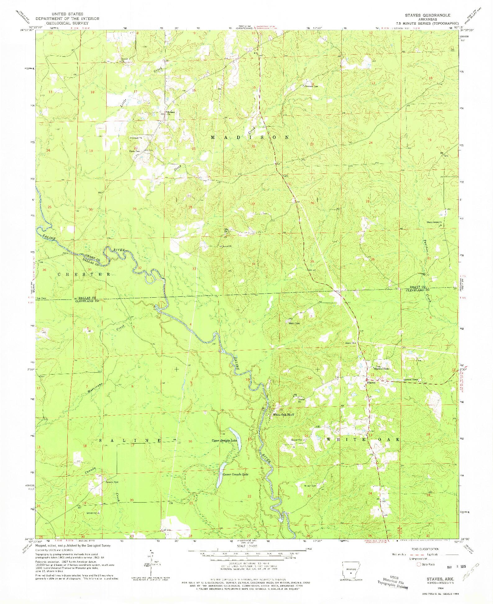 USGS 1:24000-SCALE QUADRANGLE FOR STAVES, AR 1964