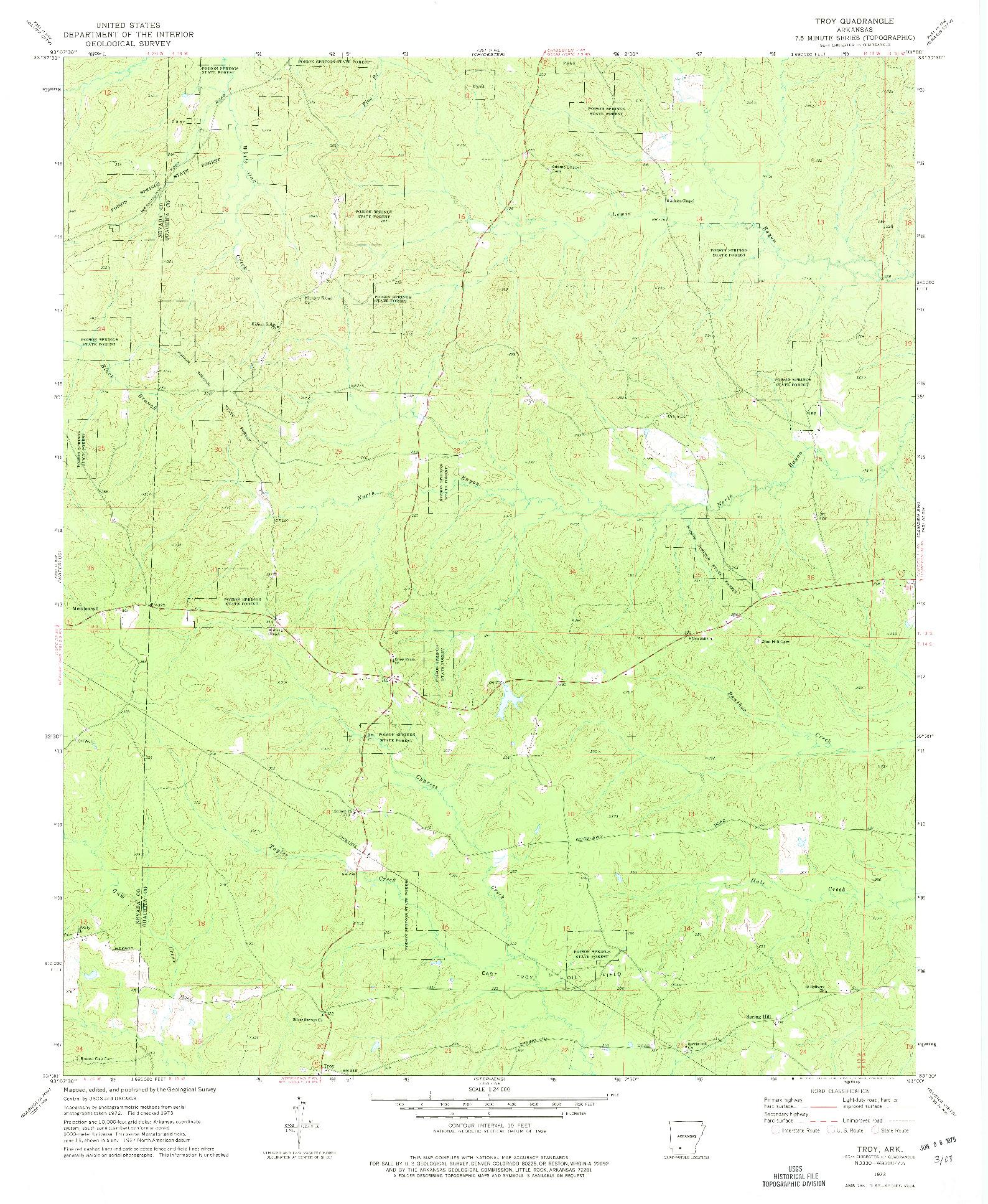 USGS 1:24000-SCALE QUADRANGLE FOR TROY, AR 1973
