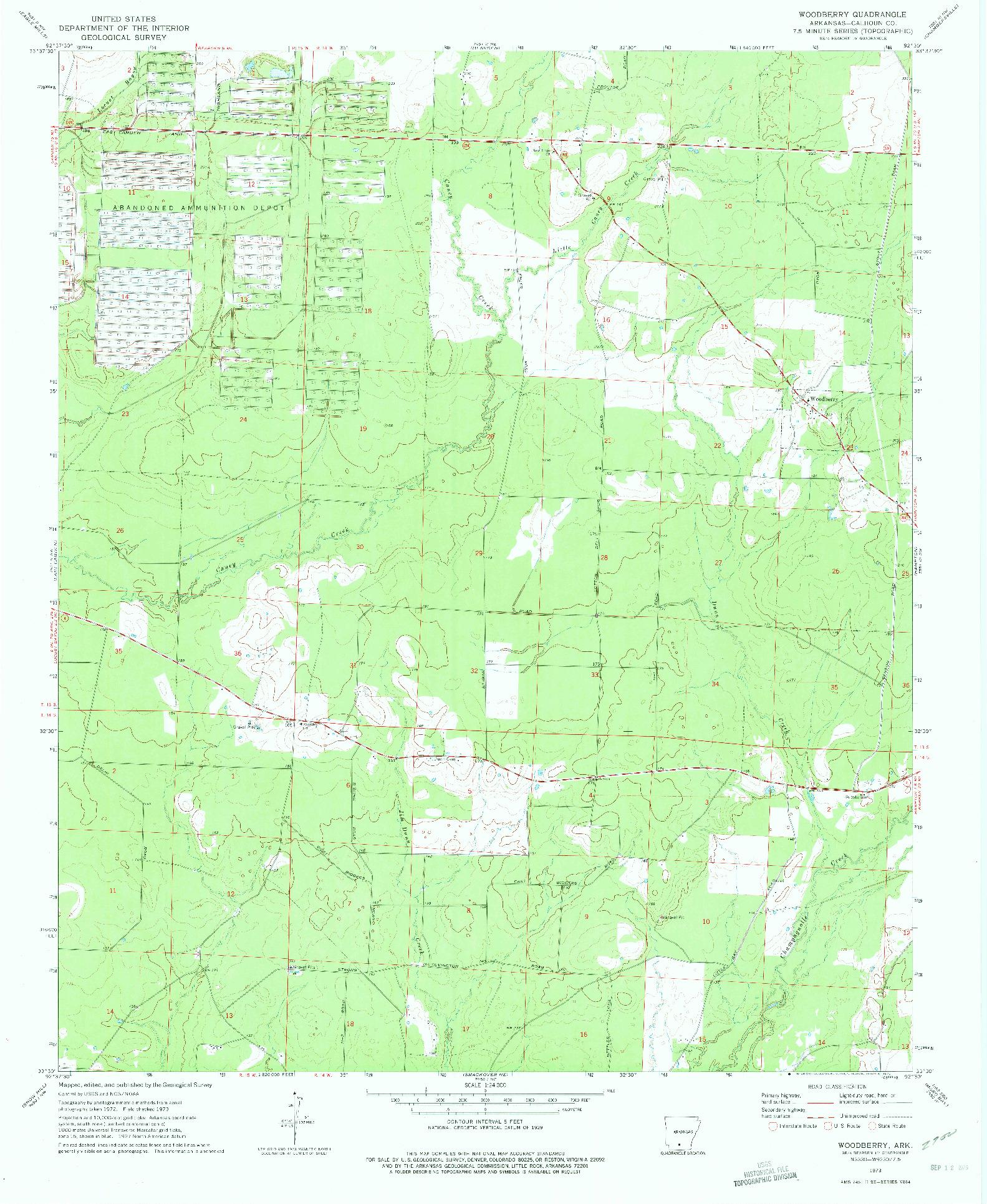 USGS 1:24000-SCALE QUADRANGLE FOR WOODBERRY, AR 1973