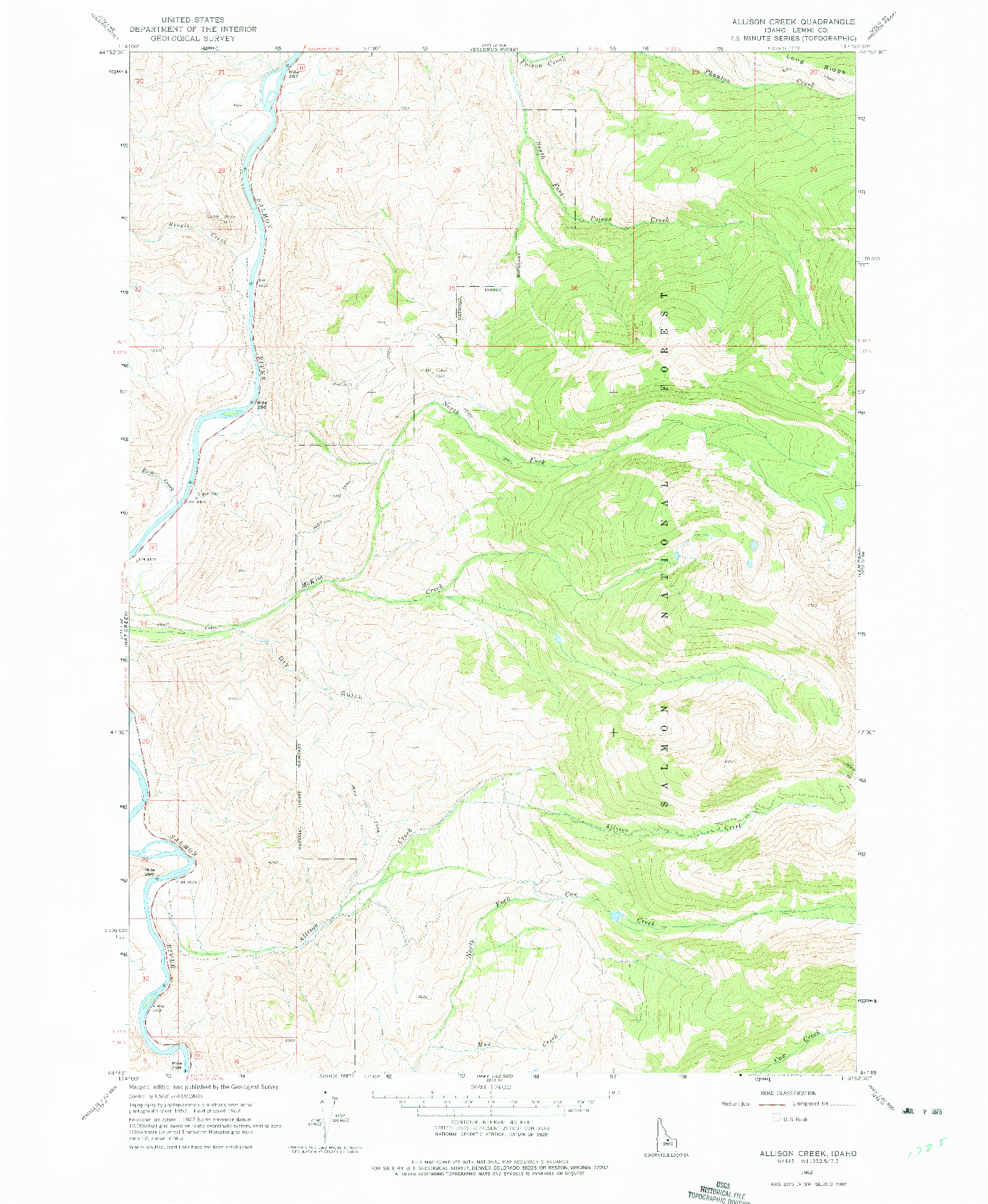 USGS 1:24000-SCALE QUADRANGLE FOR ALLISON CREEK, ID 1962