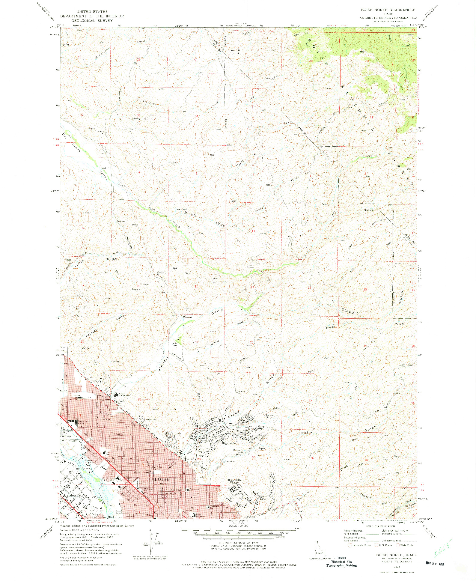 USGS 1:24000-SCALE QUADRANGLE FOR BOISE NORTH, ID 1972