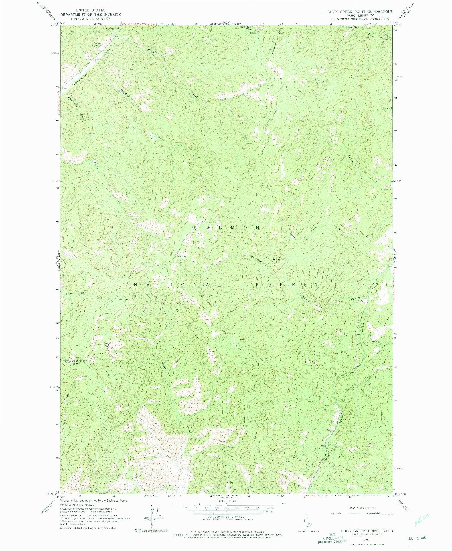 USGS 1:24000-SCALE QUADRANGLE FOR DUCK CREEK POINT, ID 1963