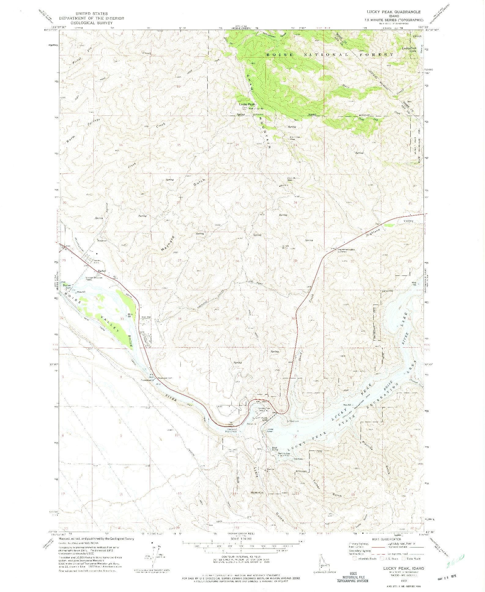 USGS 1:24000-SCALE QUADRANGLE FOR LUCKY PEAK, ID 1972