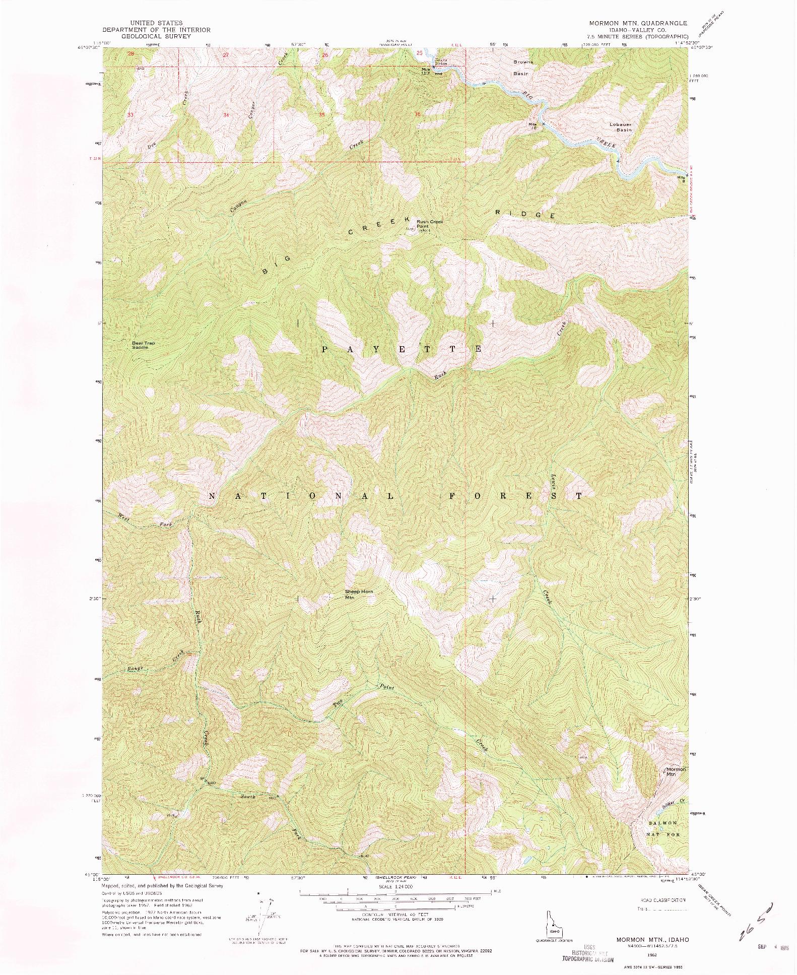 USGS 1:24000-SCALE QUADRANGLE FOR MORMON MTN, ID 1962