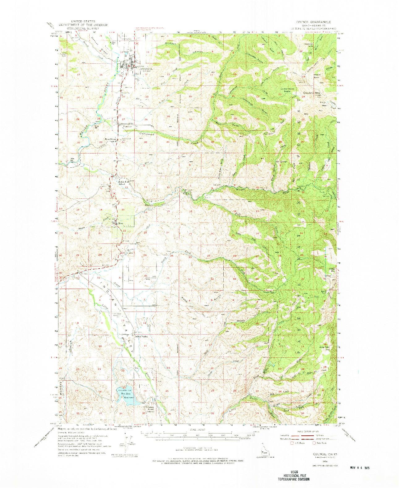 USGS 1:62500-SCALE QUADRANGLE FOR COUNCIL, ID 1954
