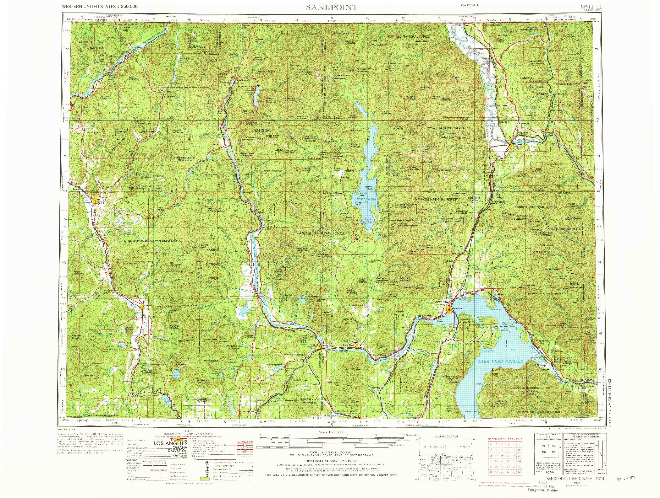 USGS 1:250000-SCALE QUADRANGLE FOR SANDPOINT, ID 1958