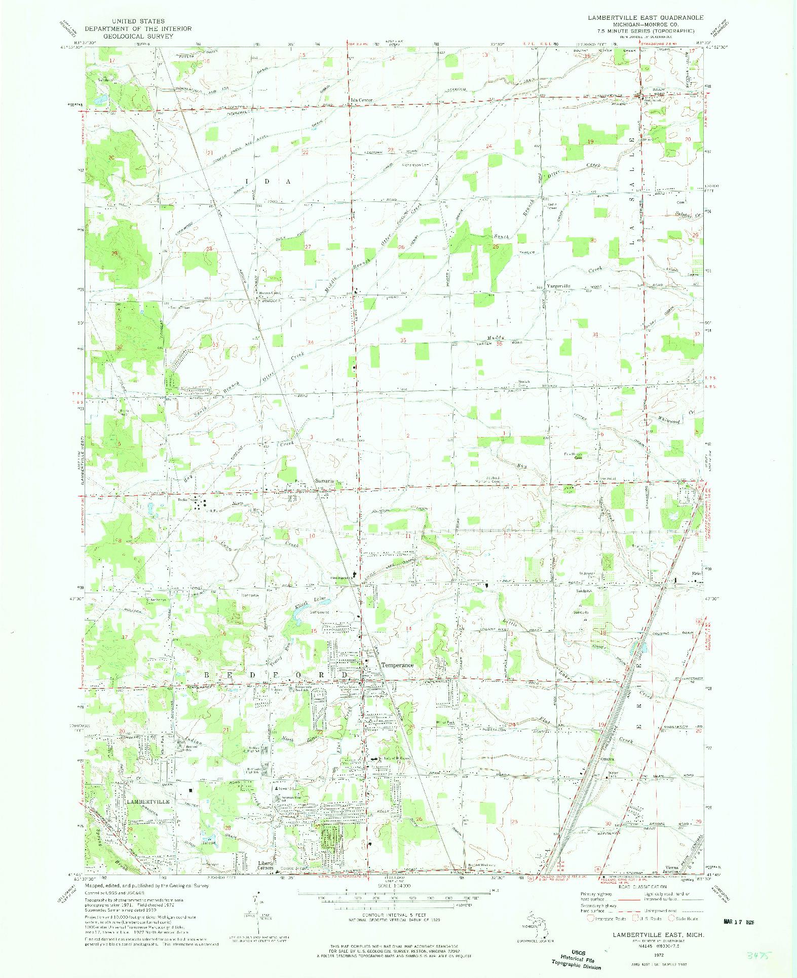 USGS 1:24000-SCALE QUADRANGLE FOR LAMBERTVILLE EAST, MI 1972