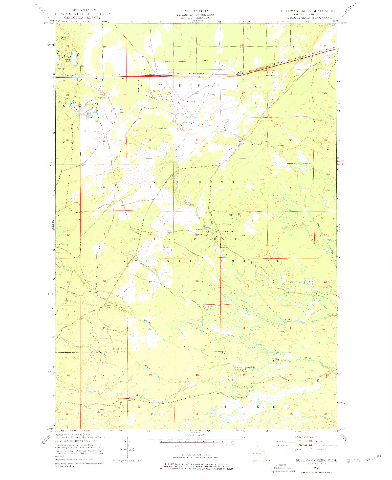 USGS 1:24000-SCALE QUADRANGLE FOR SULLIVAN CREEK, MI 1951