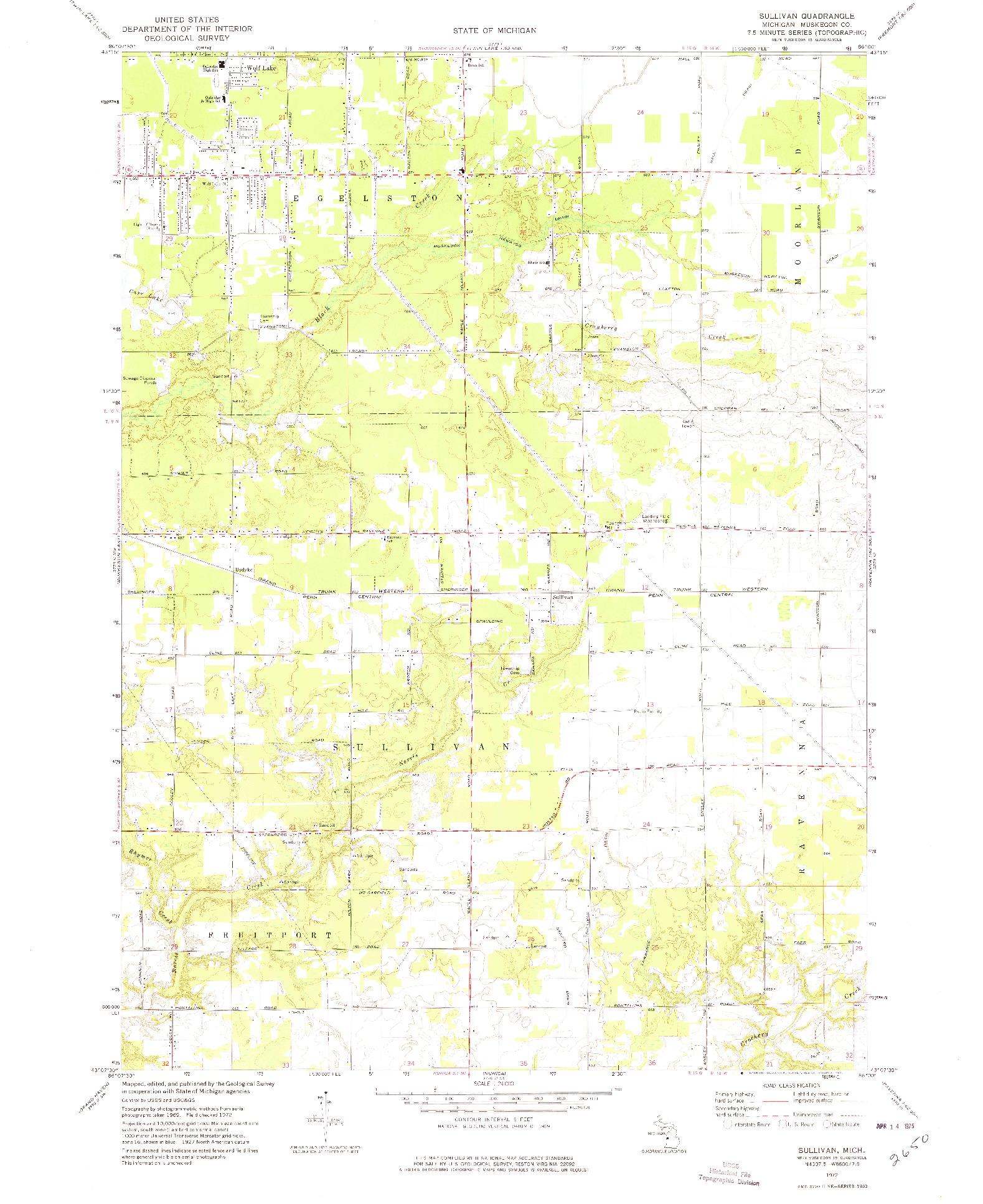 USGS 1:24000-SCALE QUADRANGLE FOR SULLIVAN, MI 1972