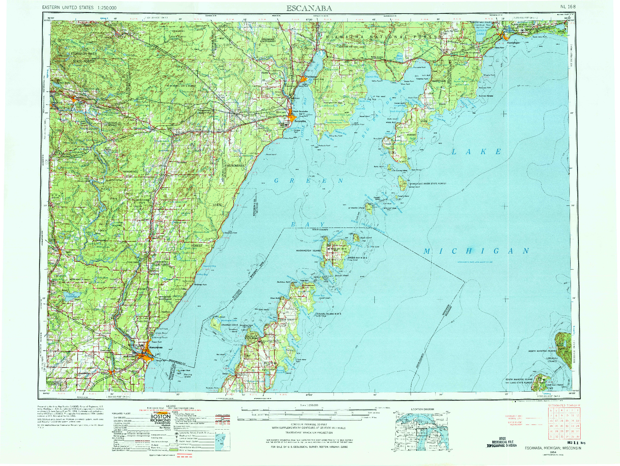 USGS 1:250000-SCALE QUADRANGLE FOR ESCANABA, MI 1954