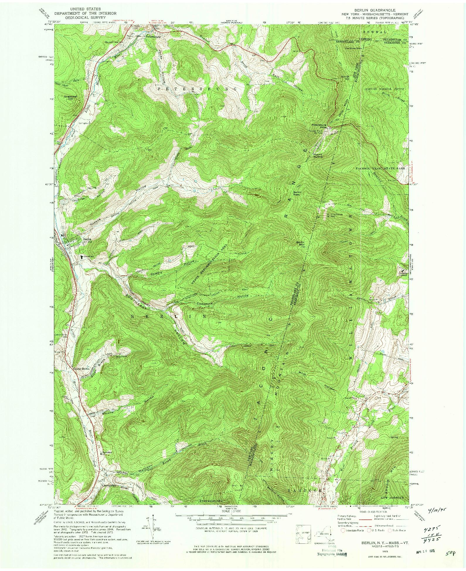 USGS 1:24000-SCALE QUADRANGLE FOR BERLIN, NY 1973
