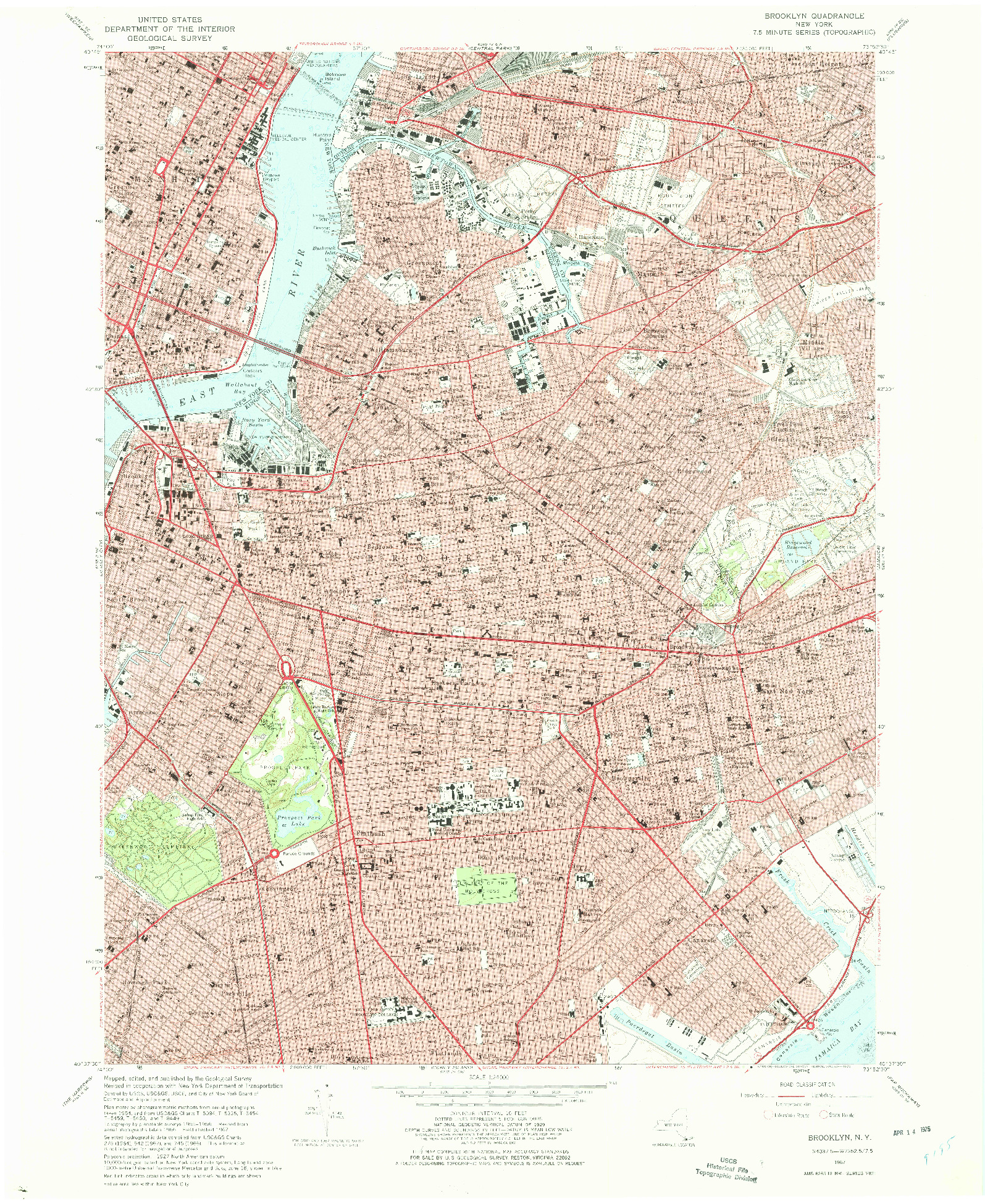 USGS 1:24000-SCALE QUADRANGLE FOR BROOKLYN, NY 1967