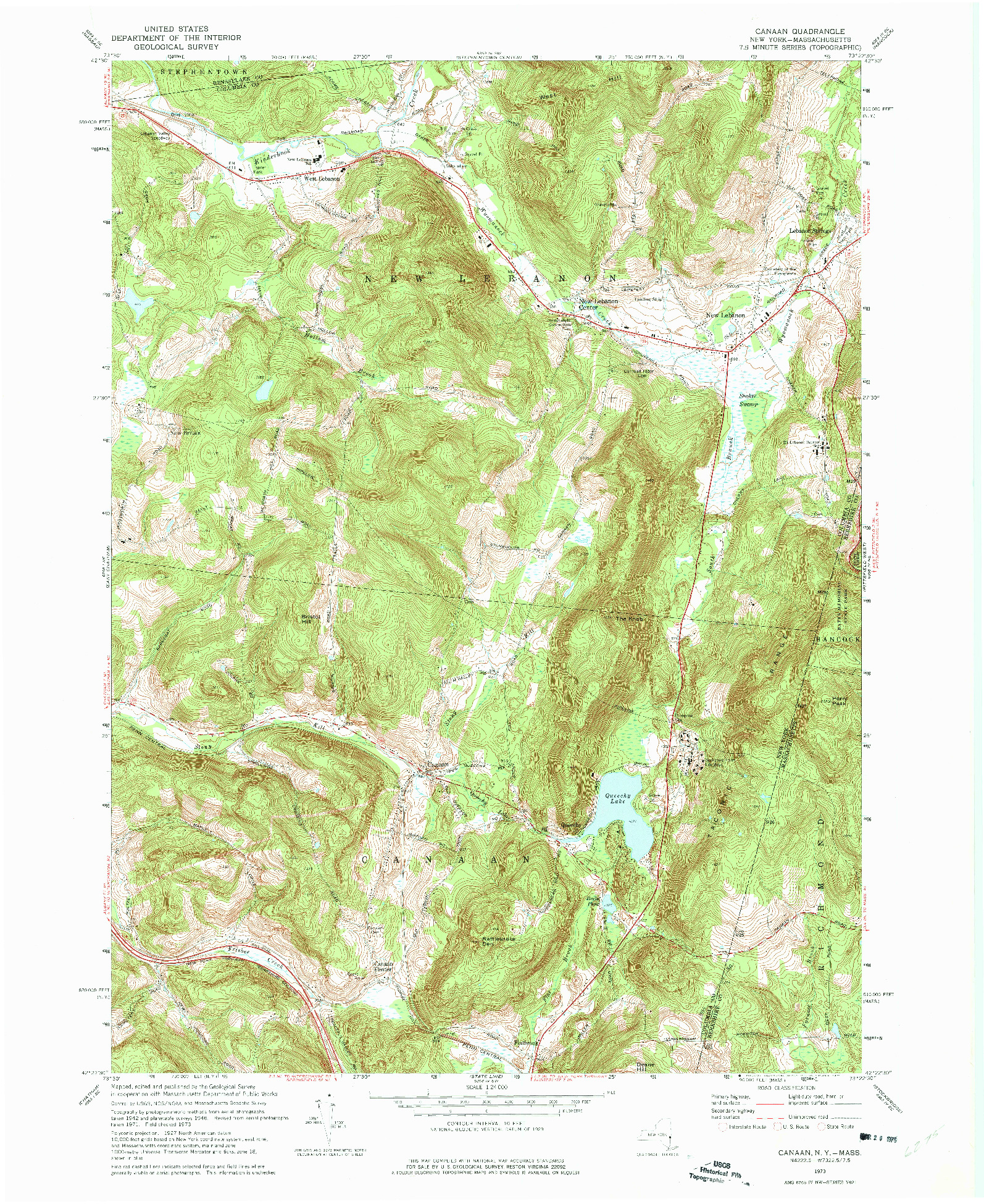USGS 1:24000-SCALE QUADRANGLE FOR CANAAN, NY 1973