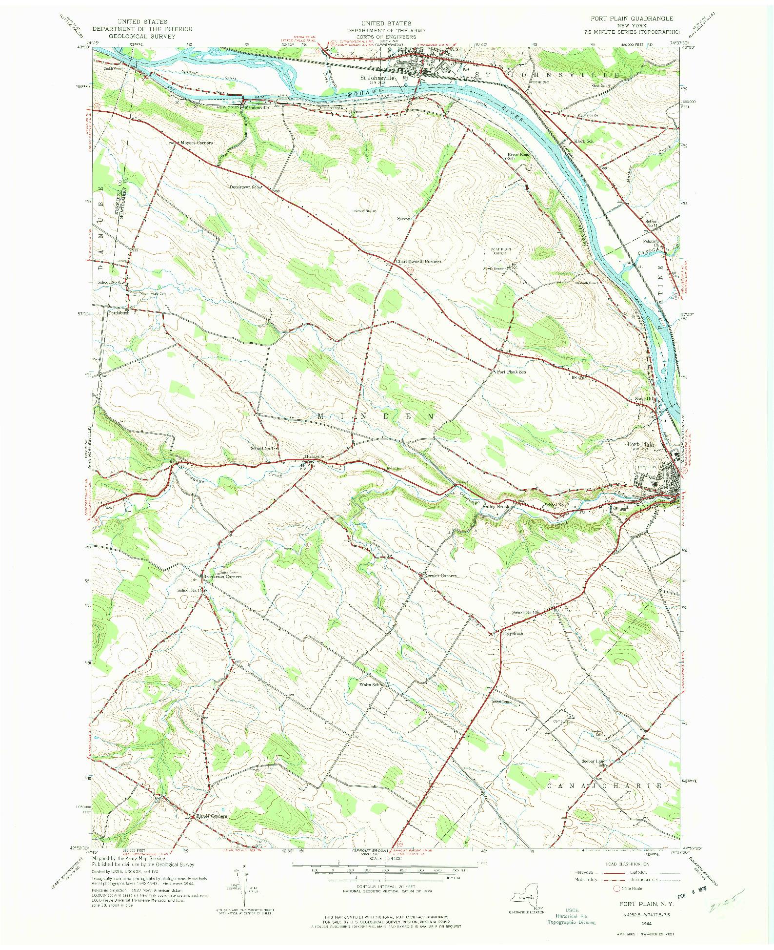 USGS 1:24000-SCALE QUADRANGLE FOR FORT PLAIN, NY 1944
