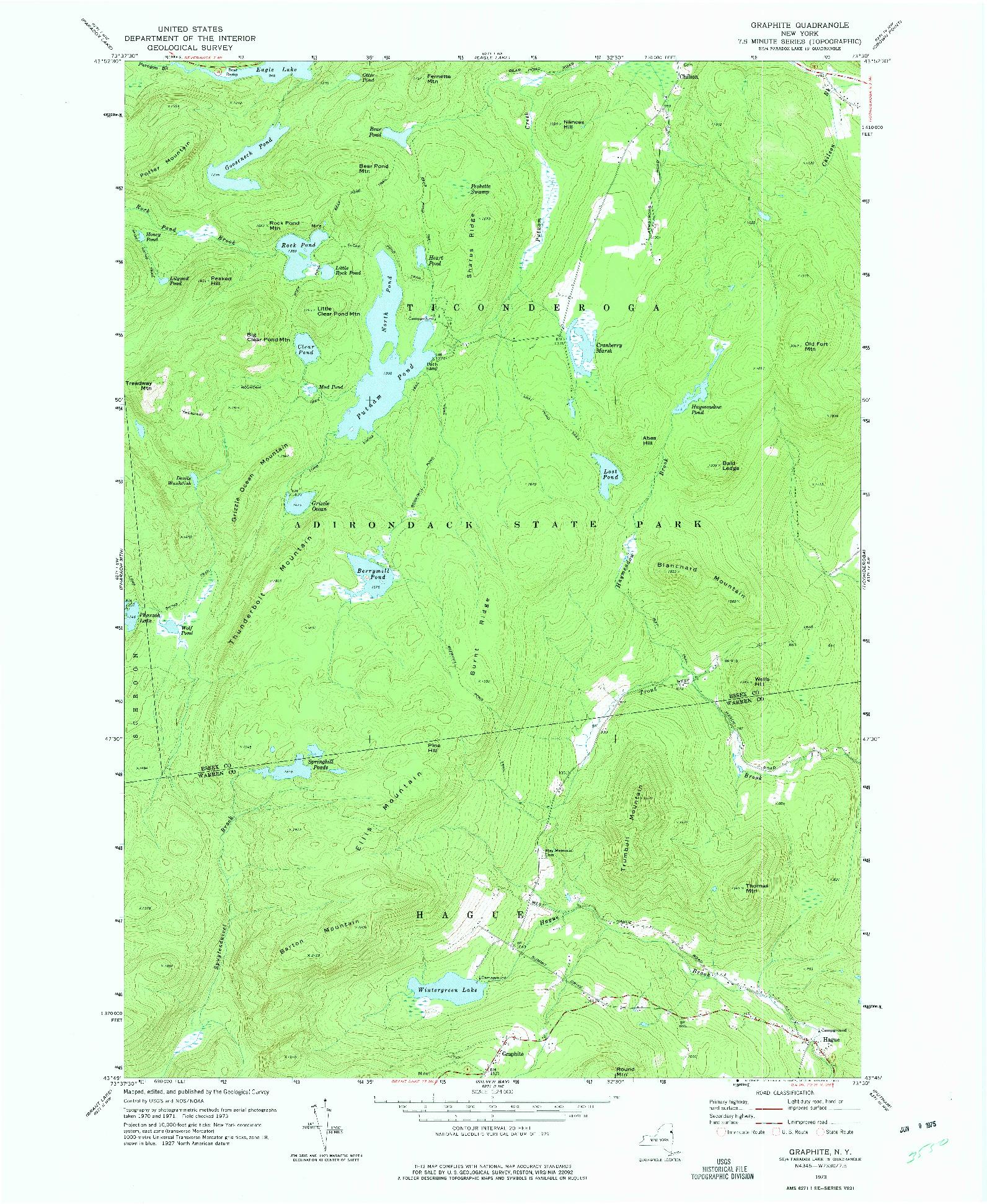USGS 1:24000-SCALE QUADRANGLE FOR GRAPHITE, NY 1973