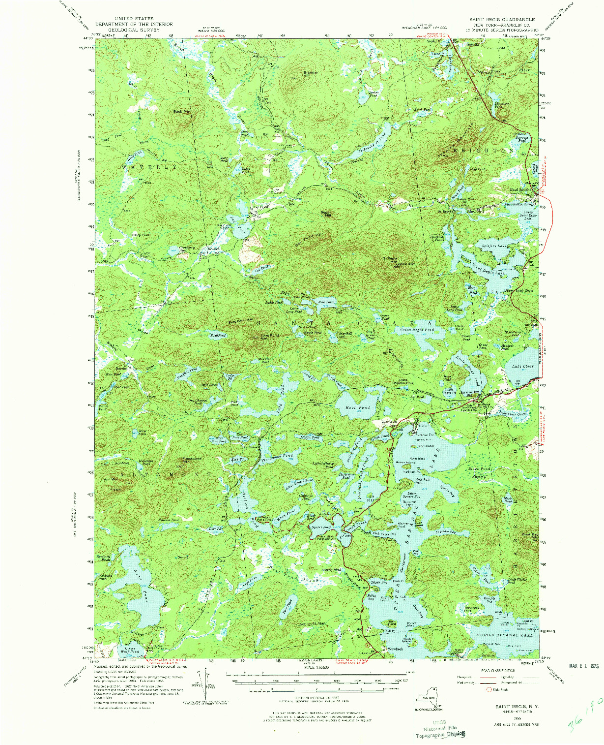 USGS 1:62500-SCALE QUADRANGLE FOR SAINT REGIS, NY 1955