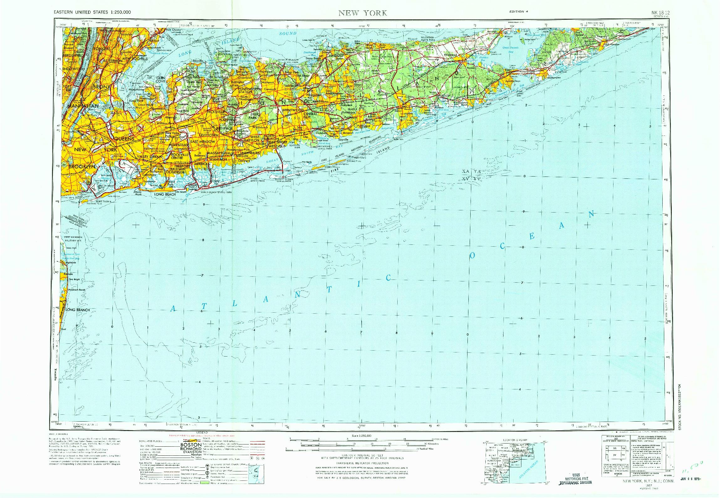 USGS 1:250000-SCALE QUADRANGLE FOR NEW YORK, NY 1957
