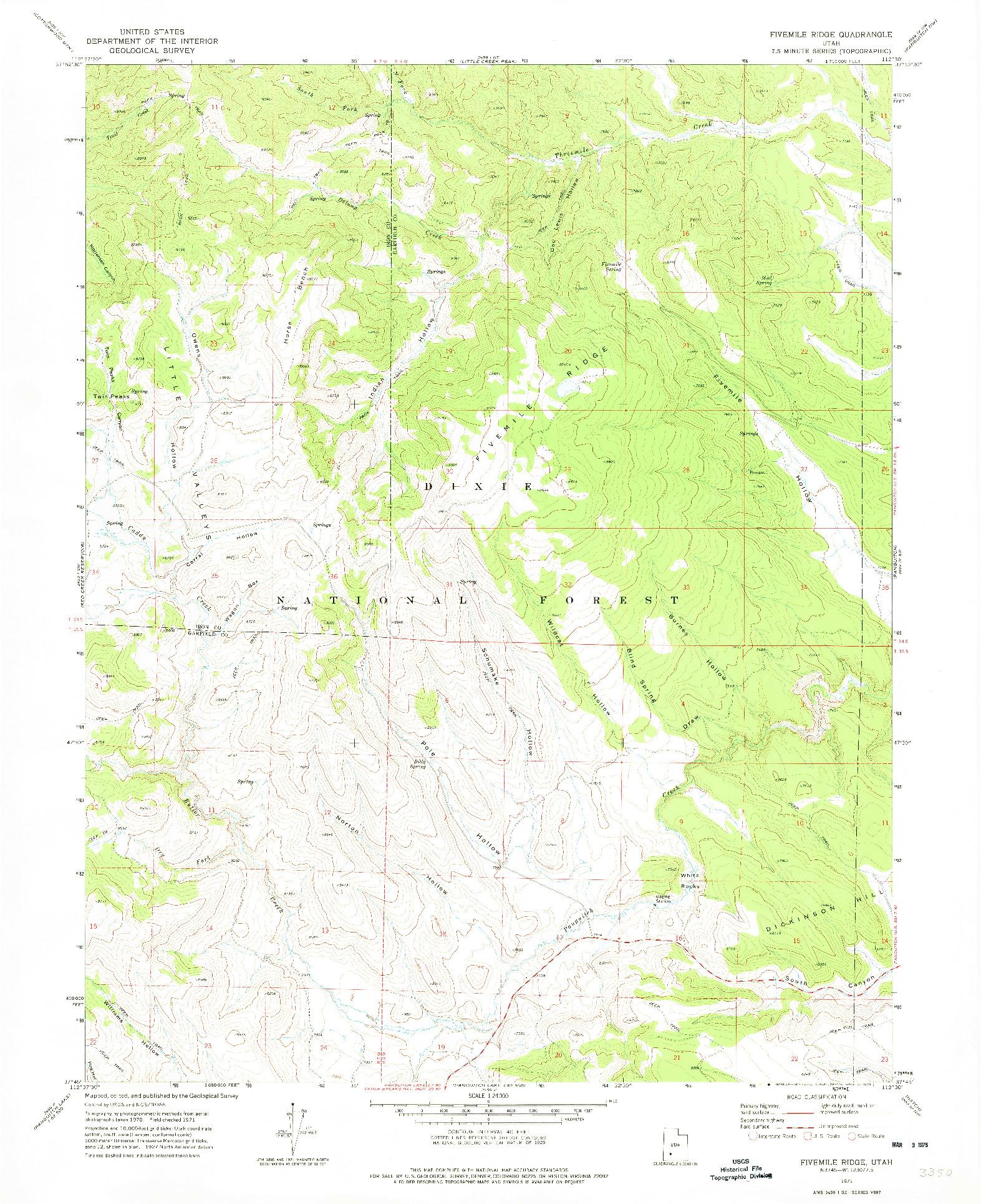 USGS 1:24000-SCALE QUADRANGLE FOR FIVEMILE RIDGE, UT 1971