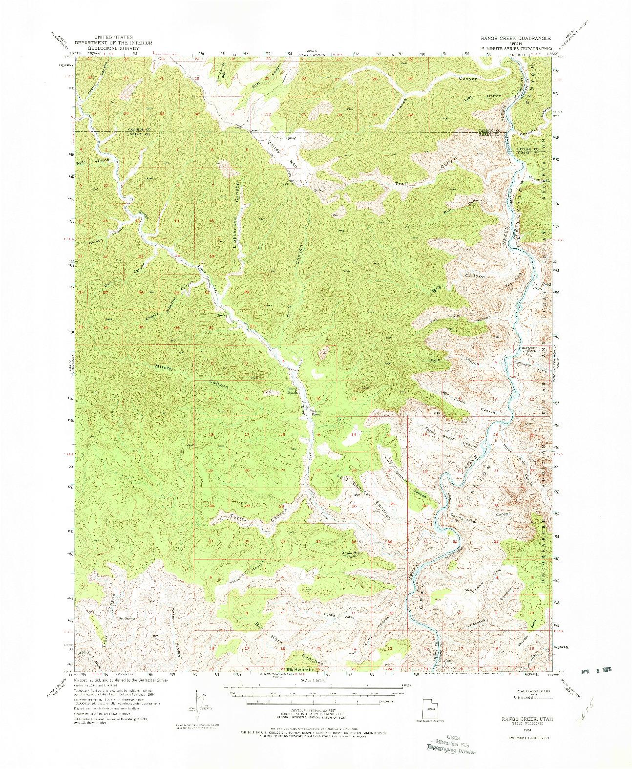 USGS 1:62500-SCALE QUADRANGLE FOR RANGE CREEK, UT 1954