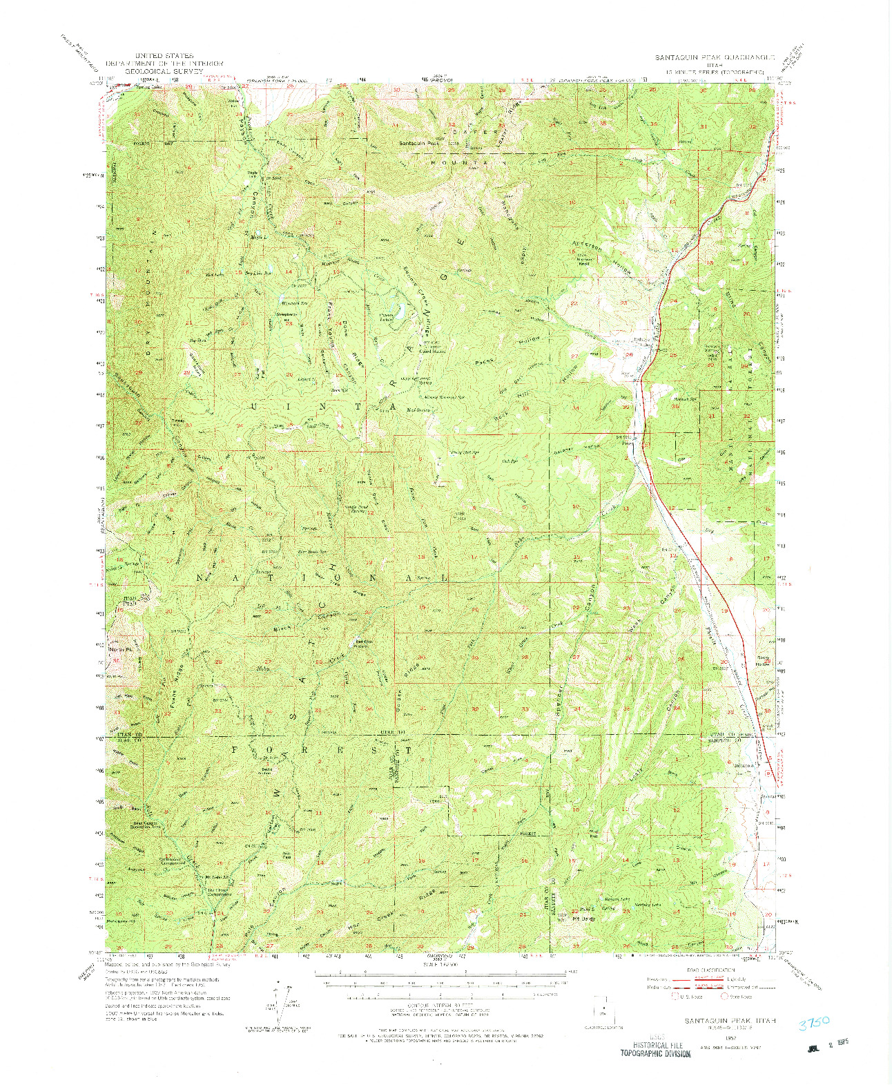 USGS 1:62500-SCALE QUADRANGLE FOR SANTAQUIN PEAK, UT 1952