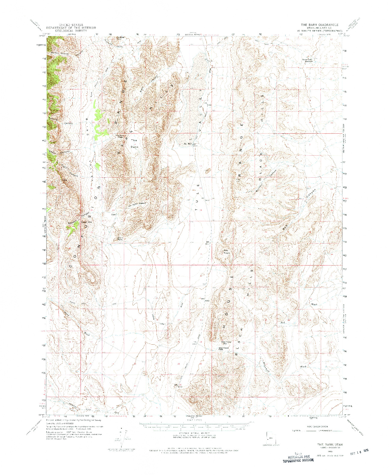 USGS 1:62500-SCALE QUADRANGLE FOR THE BARN, UT 1960