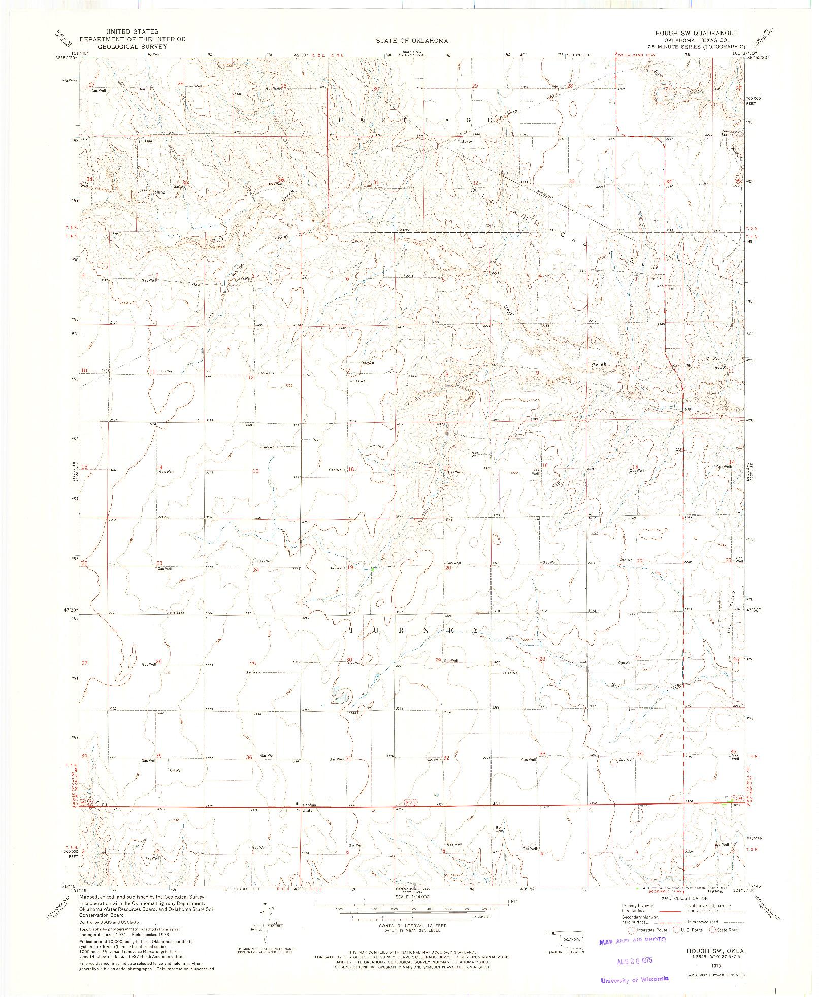 USGS 1:24000-SCALE QUADRANGLE FOR HOUGH SW, OK 1973