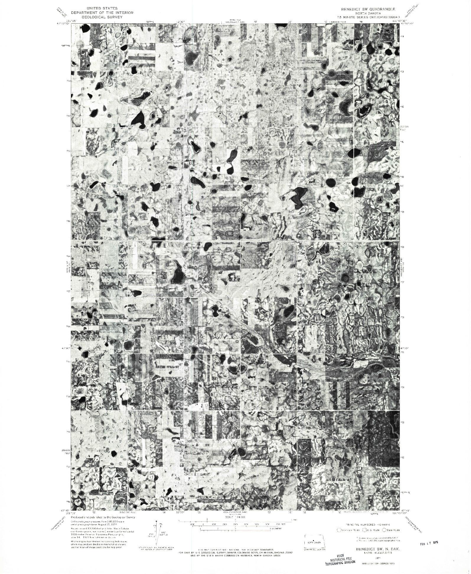 USGS 1:24000-SCALE QUADRANGLE FOR BENEDICT SW, ND 1974