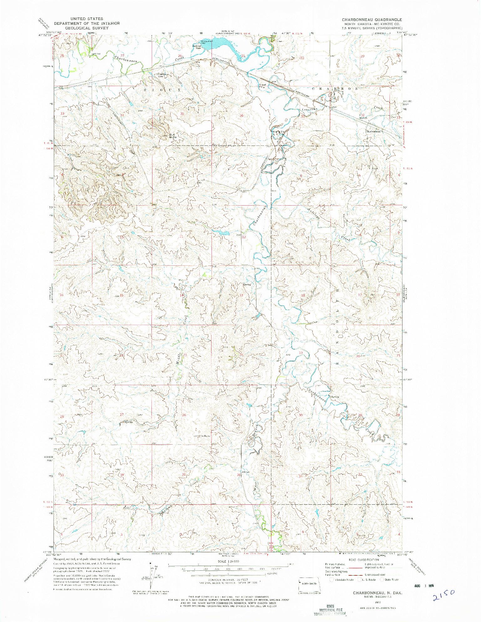 USGS 1:24000-SCALE QUADRANGLE FOR CHARBONNEAU, ND 1972