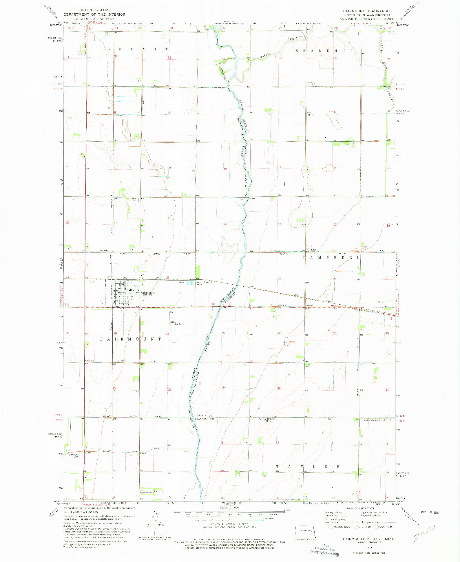 USGS 1:24000-SCALE QUADRANGLE FOR FAIRMOUNT, ND 1973