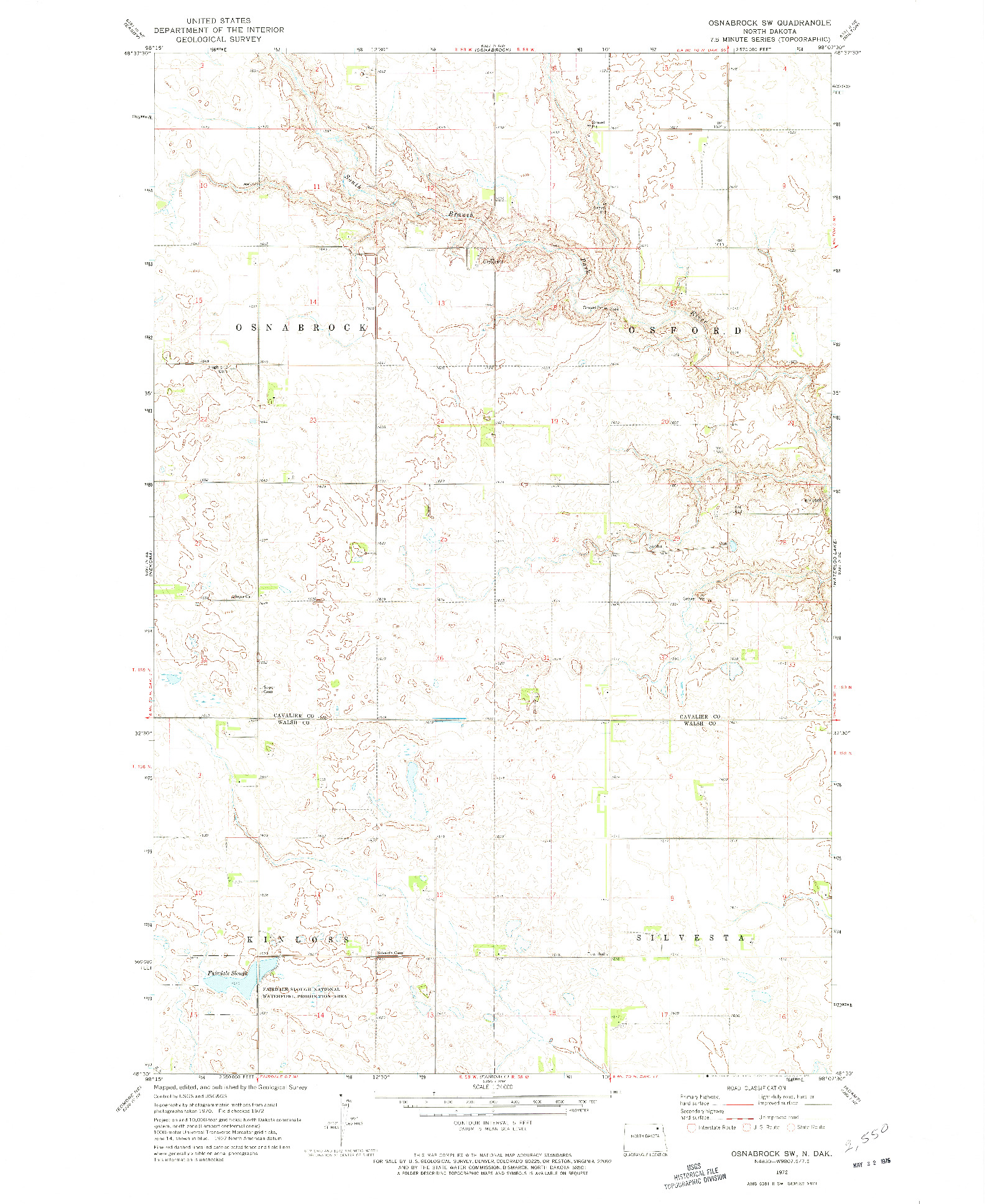 USGS 1:24000-SCALE QUADRANGLE FOR OSNABROCK SW, ND 1972