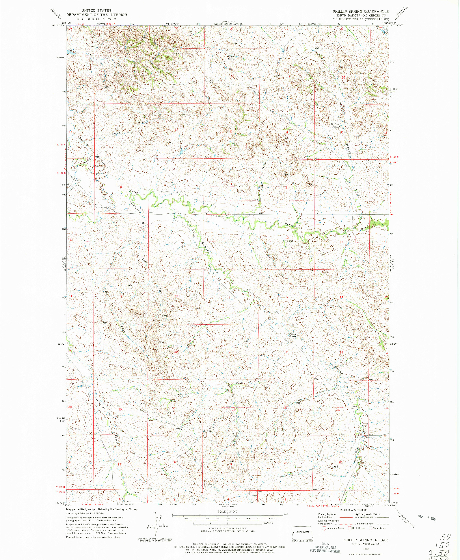 USGS 1:24000-SCALE QUADRANGLE FOR PHILLIP SPRING, ND 1972