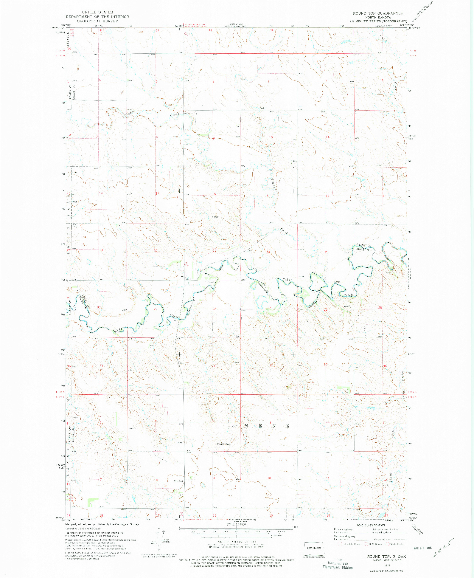 USGS 1:24000-SCALE QUADRANGLE FOR ROUND TOP, ND 1972