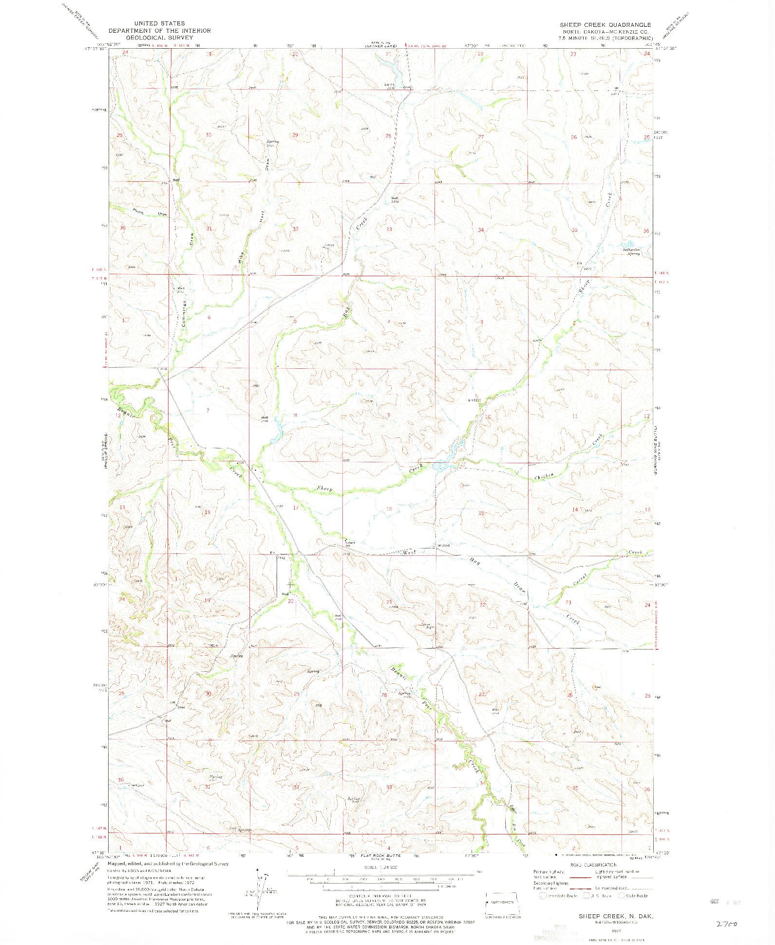 USGS 1:24000-SCALE QUADRANGLE FOR SHEEP CREEK, ND 1972
