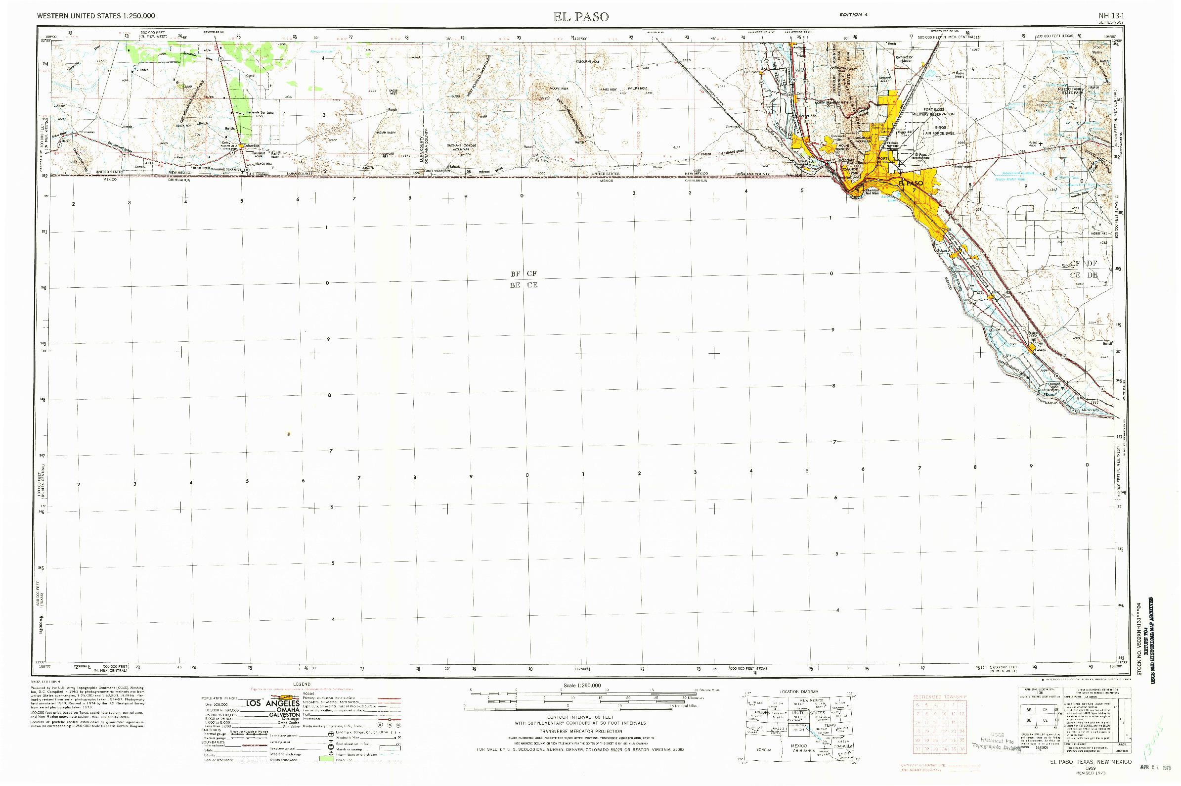 USGS 1:250000-SCALE QUADRANGLE FOR EL PASO, TX 1959