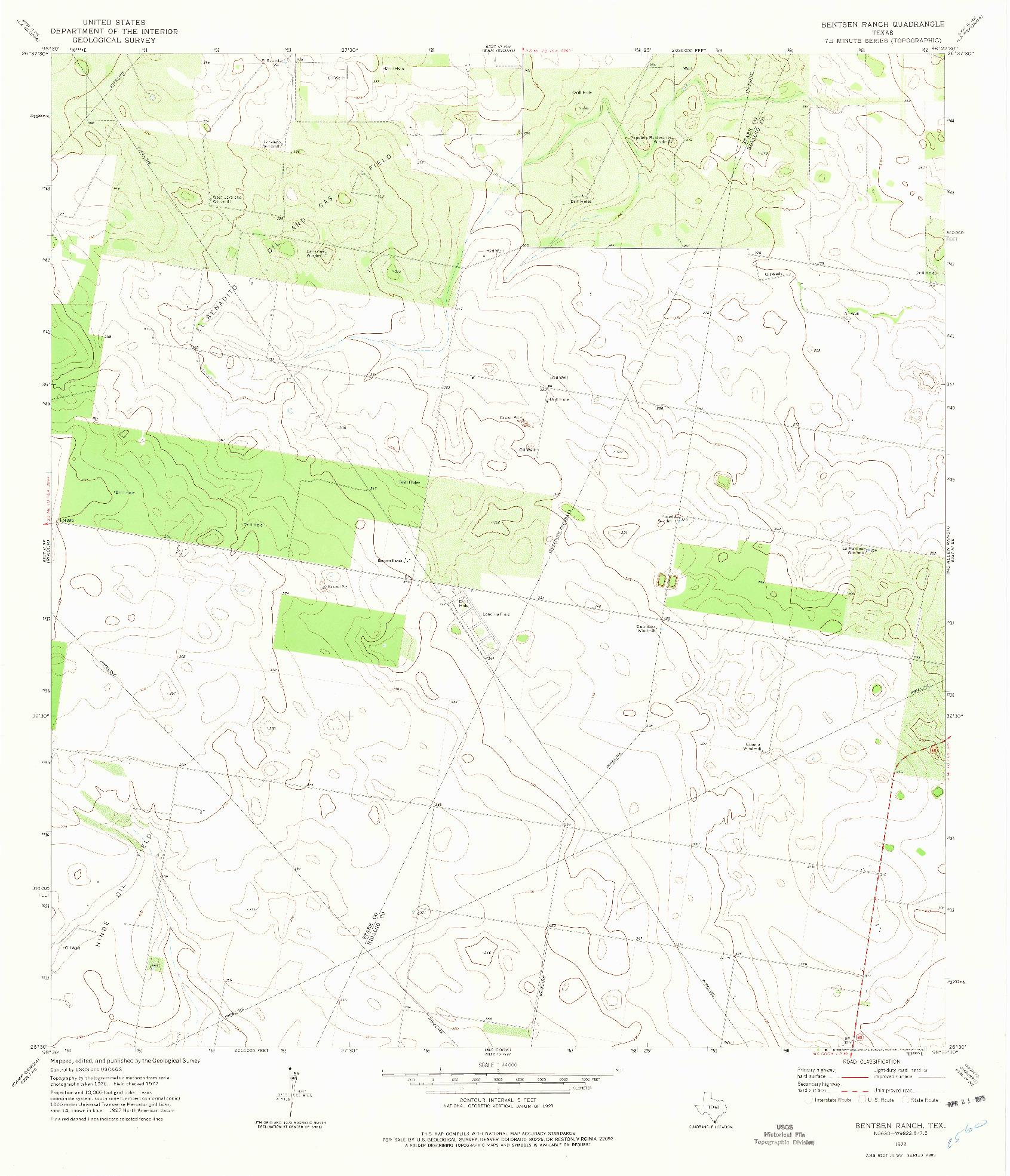 USGS 1:24000-SCALE QUADRANGLE FOR BENTSEN RANCH, TX 1972