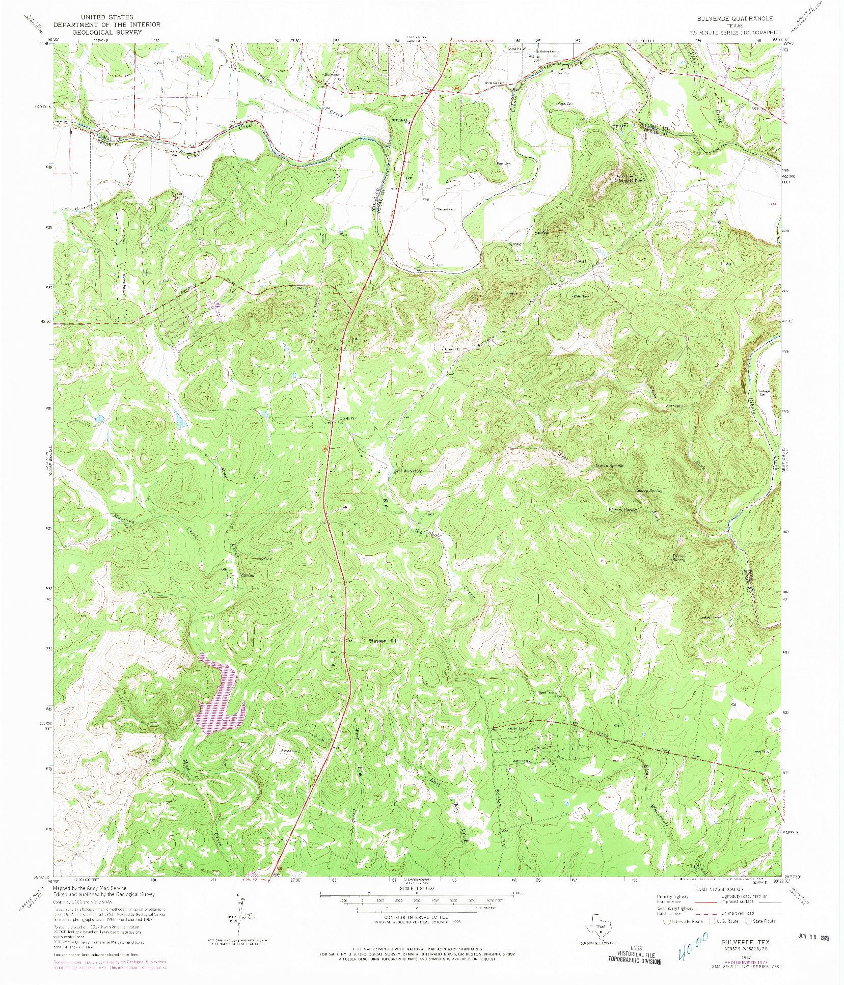 USGS 1:24000-SCALE QUADRANGLE FOR BULVERDE, TX 1967