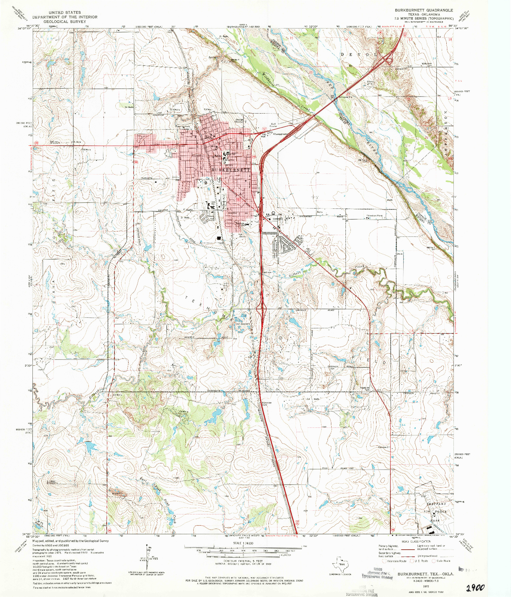 USGS 1:24000-SCALE QUADRANGLE FOR BURKBURNETT, TX 1972
