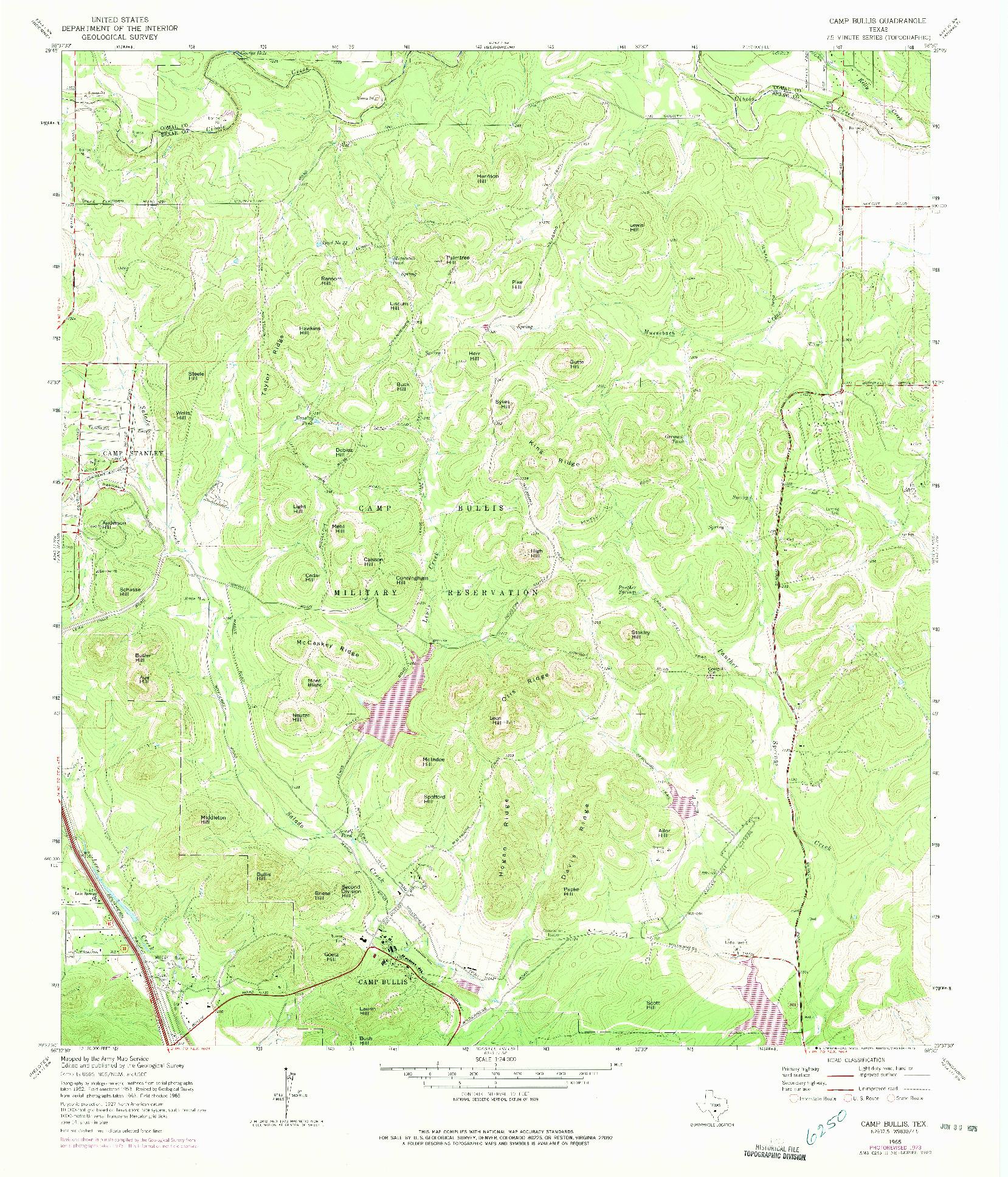 USGS 1:24000-SCALE QUADRANGLE FOR CAMP BULLIS, TX 1965