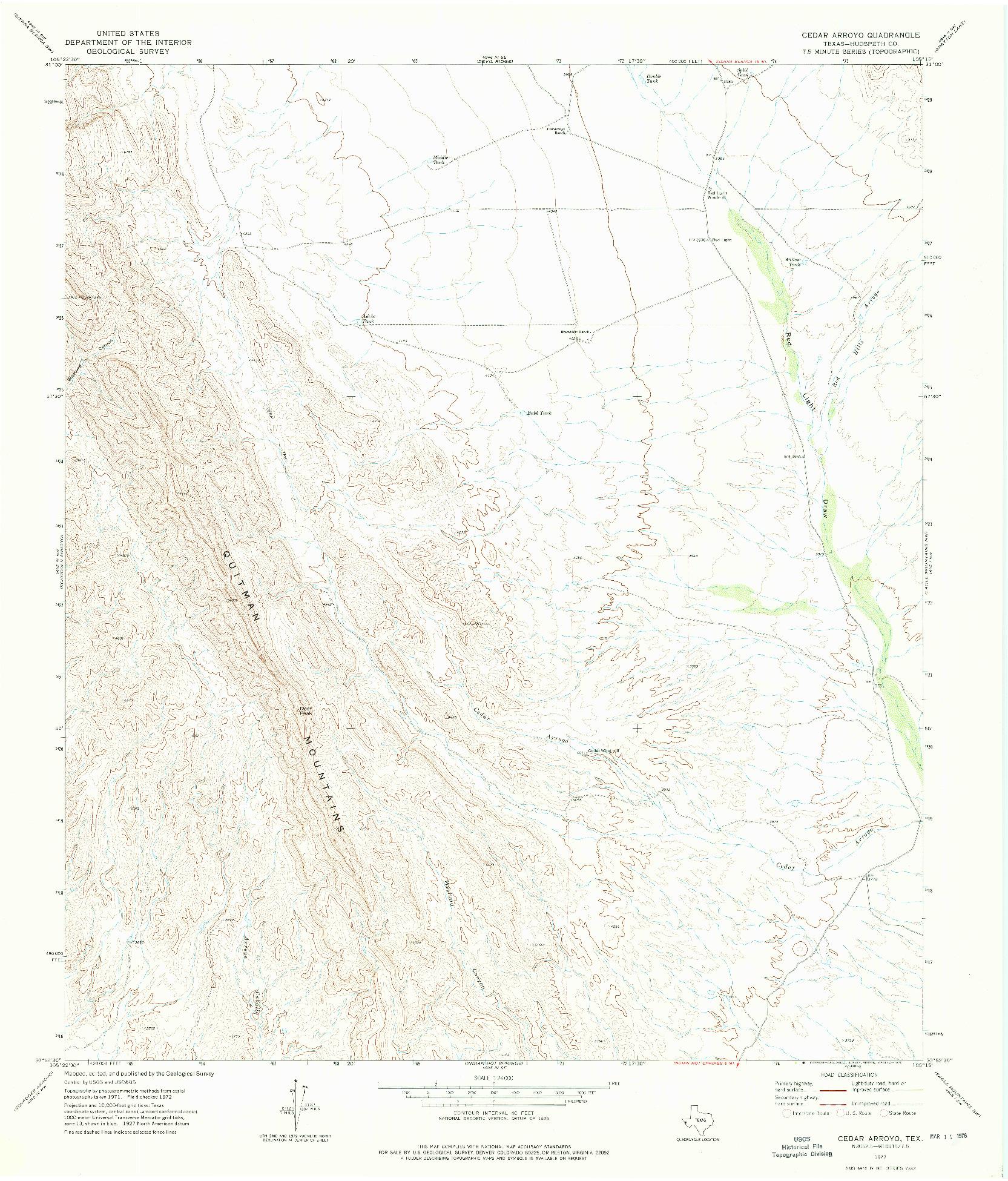 USGS 1:24000-SCALE QUADRANGLE FOR CEDAR ARROYO, TX 1972