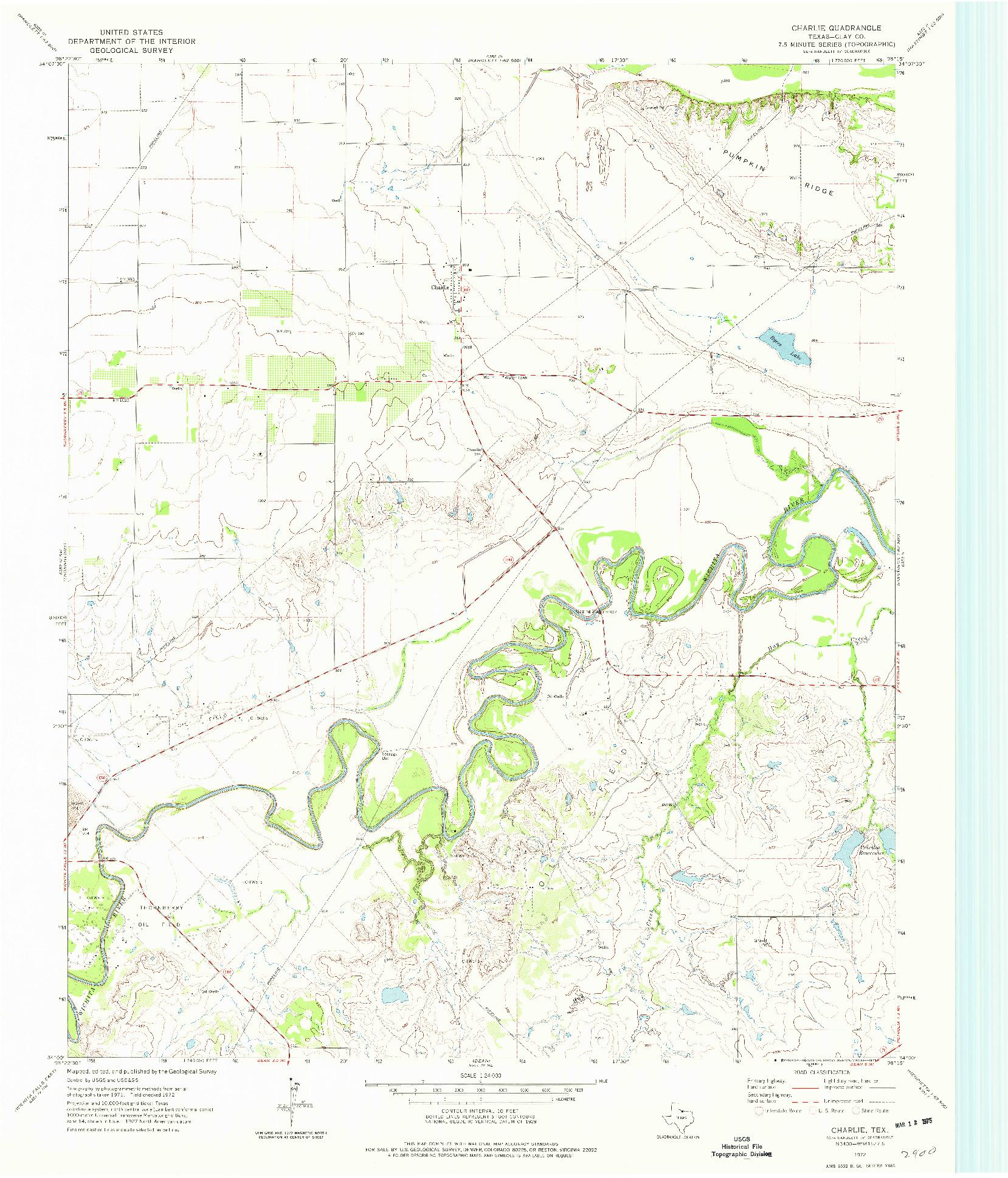USGS 1:24000-SCALE QUADRANGLE FOR CHARLIE, TX 1972