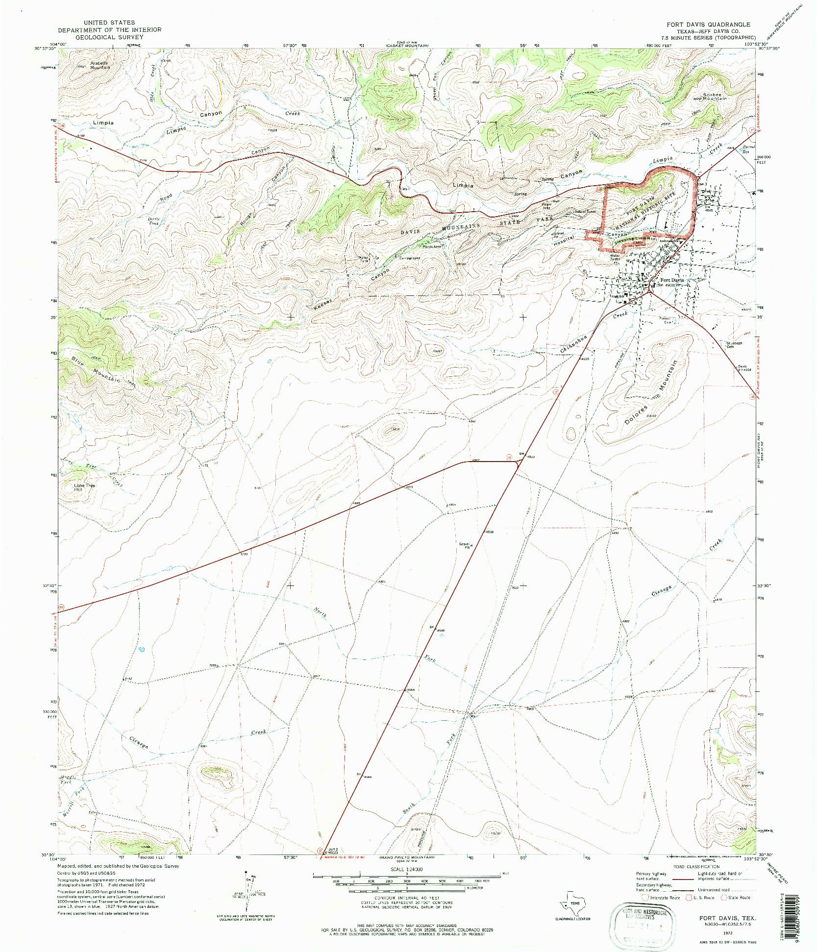 USGS 1:24000-SCALE QUADRANGLE FOR FORT DAVIS, TX 1972