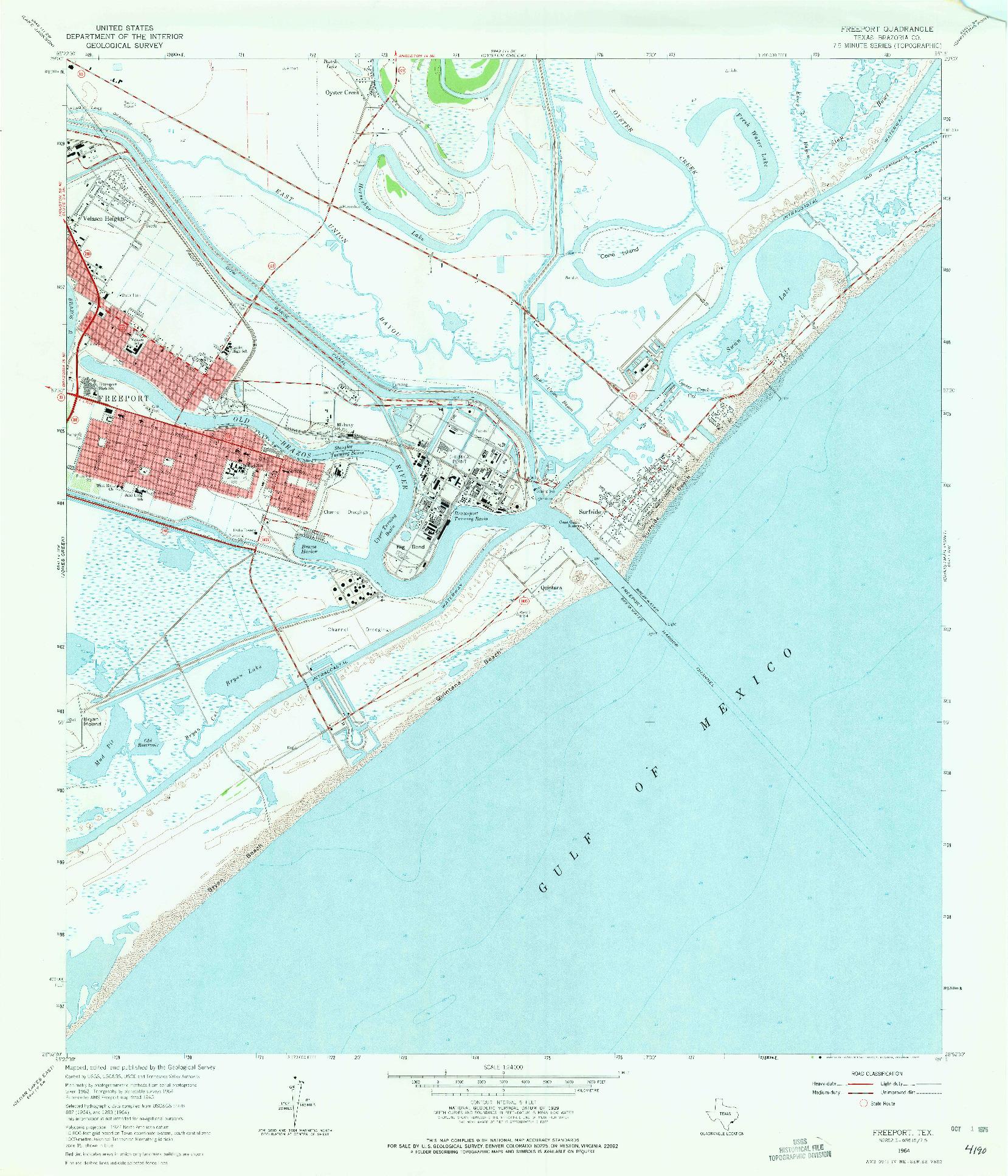 USGS 1:24000-SCALE QUADRANGLE FOR FREEPORT, TX 1964