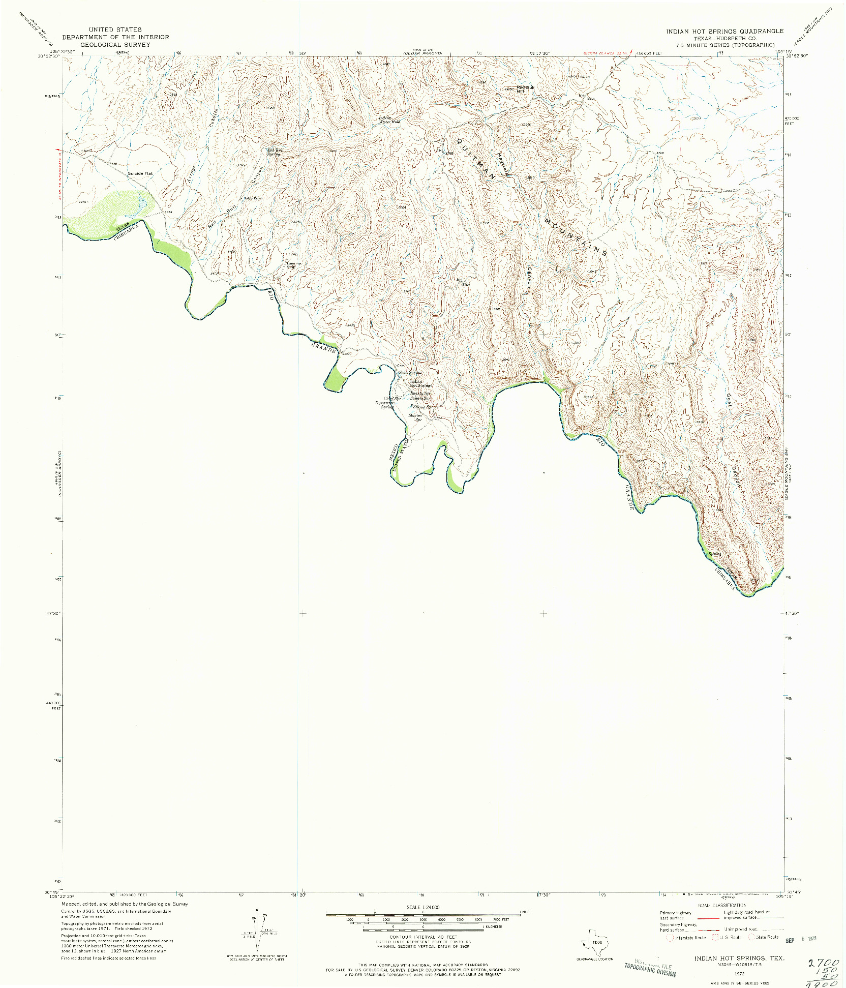 USGS 1:24000-SCALE QUADRANGLE FOR INDIAN HOT SPRINGS, TX 1972