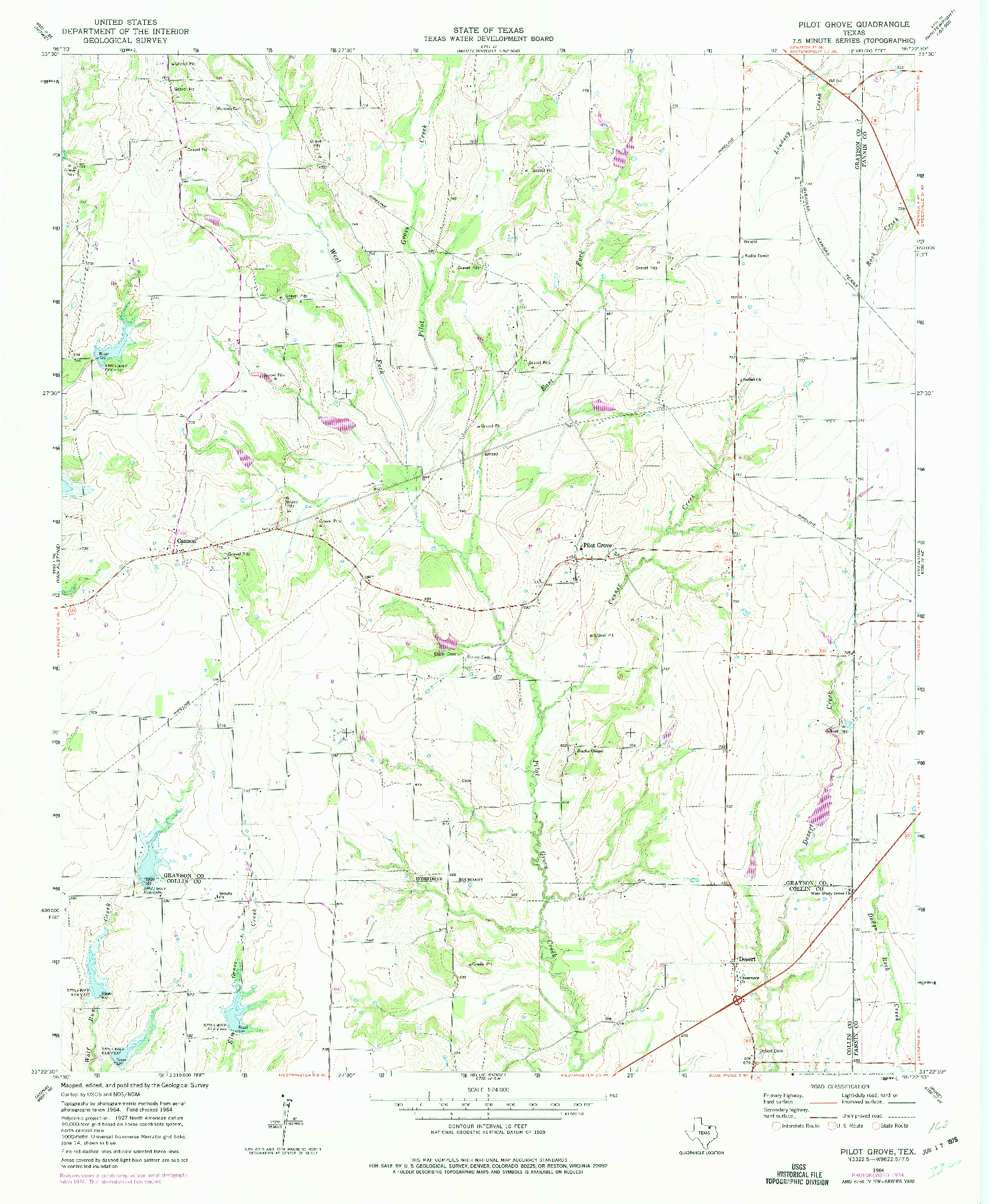 USGS 1:24000-SCALE QUADRANGLE FOR PILOT GROVE, TX 1964