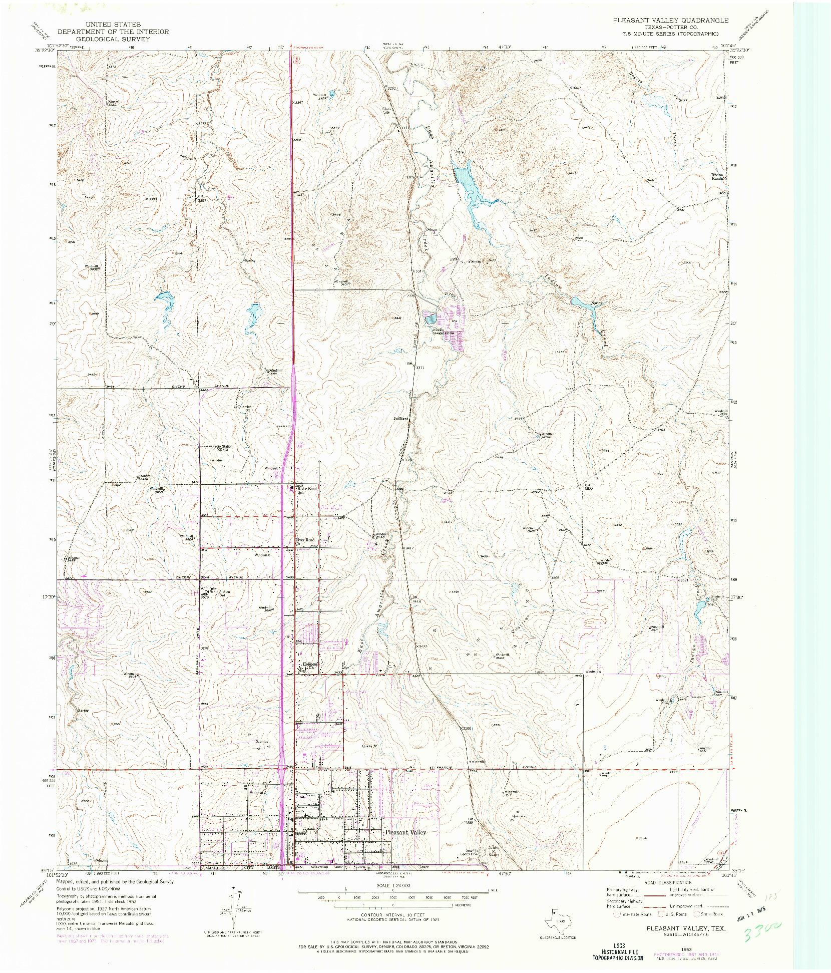 USGS 1:24000-SCALE QUADRANGLE FOR PLEASANT VALLEY, TX 1953