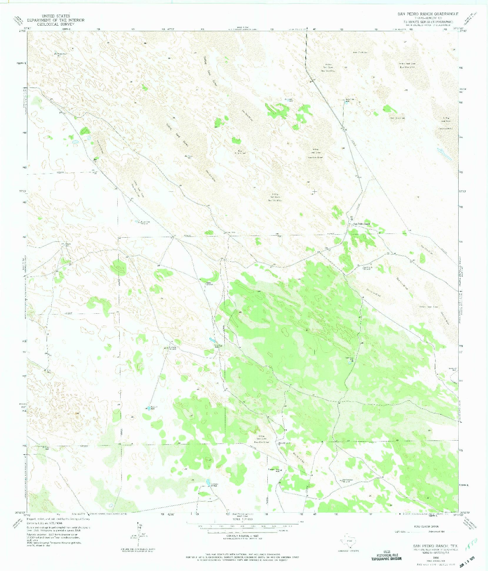 USGS 1:24000-SCALE QUADRANGLE FOR SAN PEDRO RANCH, TX 1956